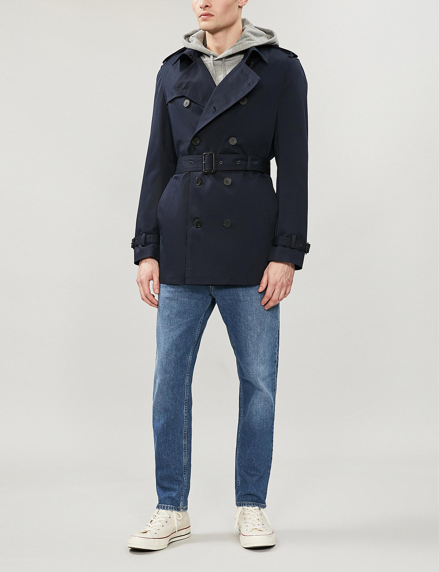 98a85412456 The Kooples Double-breasted Stretch-cotton Twill Coat in Blue for ...