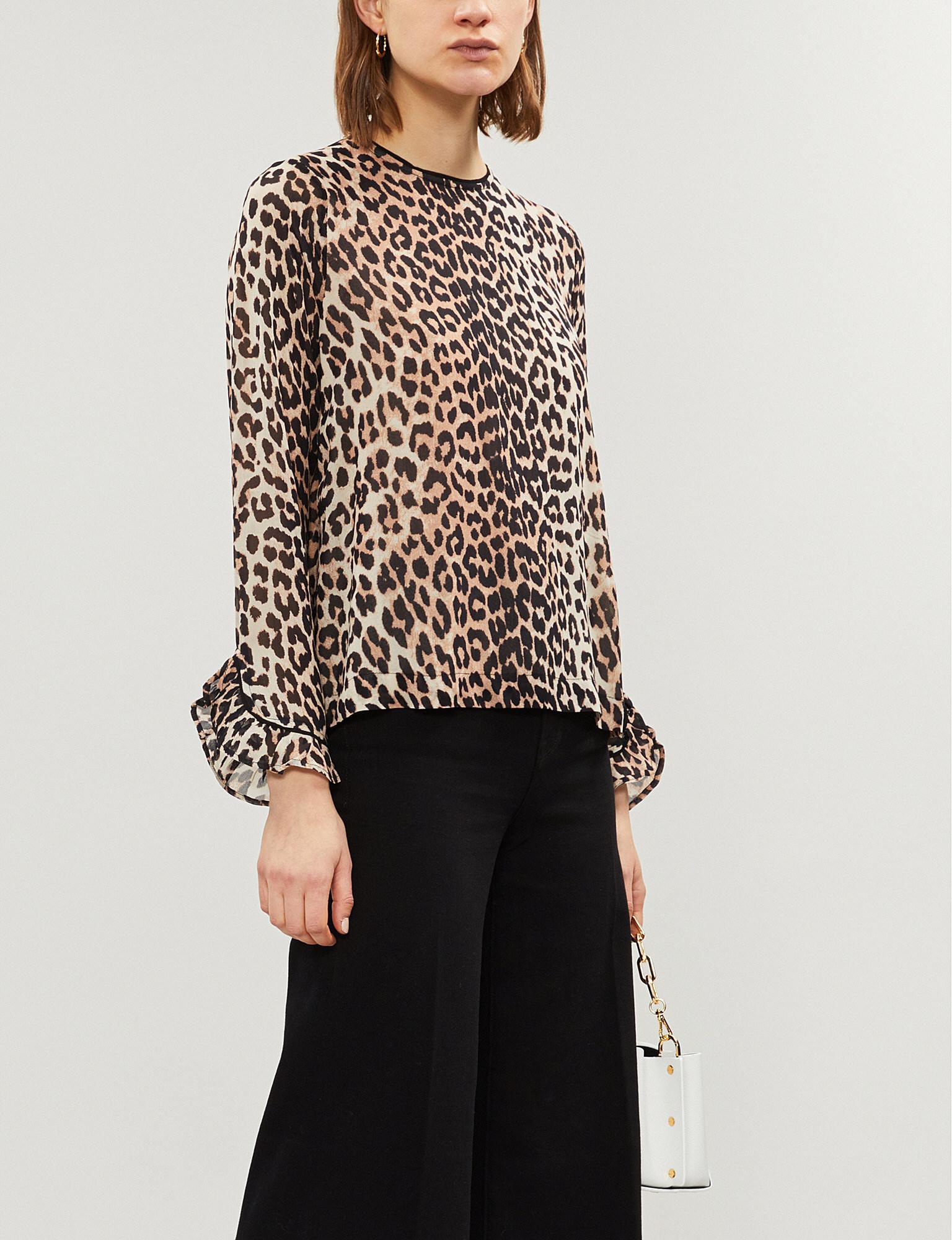 a419b3dba9b7 Ganni. Women s Ladies Brown And Black Mullin Leopard-print Georgette Top