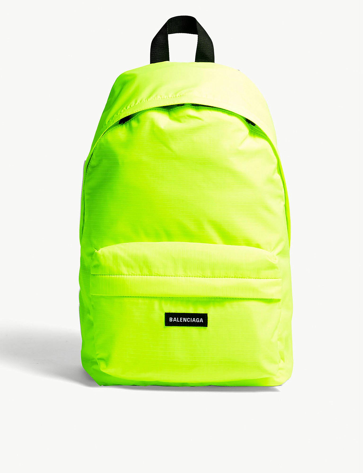 Lyst - Balenciaga Neon Green Explorer Backpack in Yellow for Men 99ce076ef115f