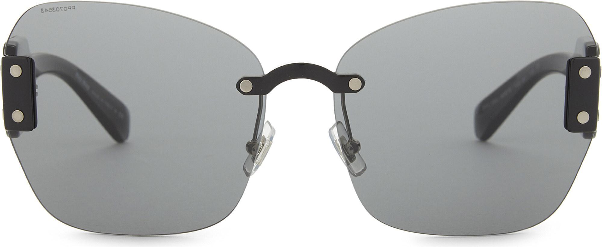 928c5e522b7 Lyst - Miu Miu Mu08s Square-frame Sunglasses in Black