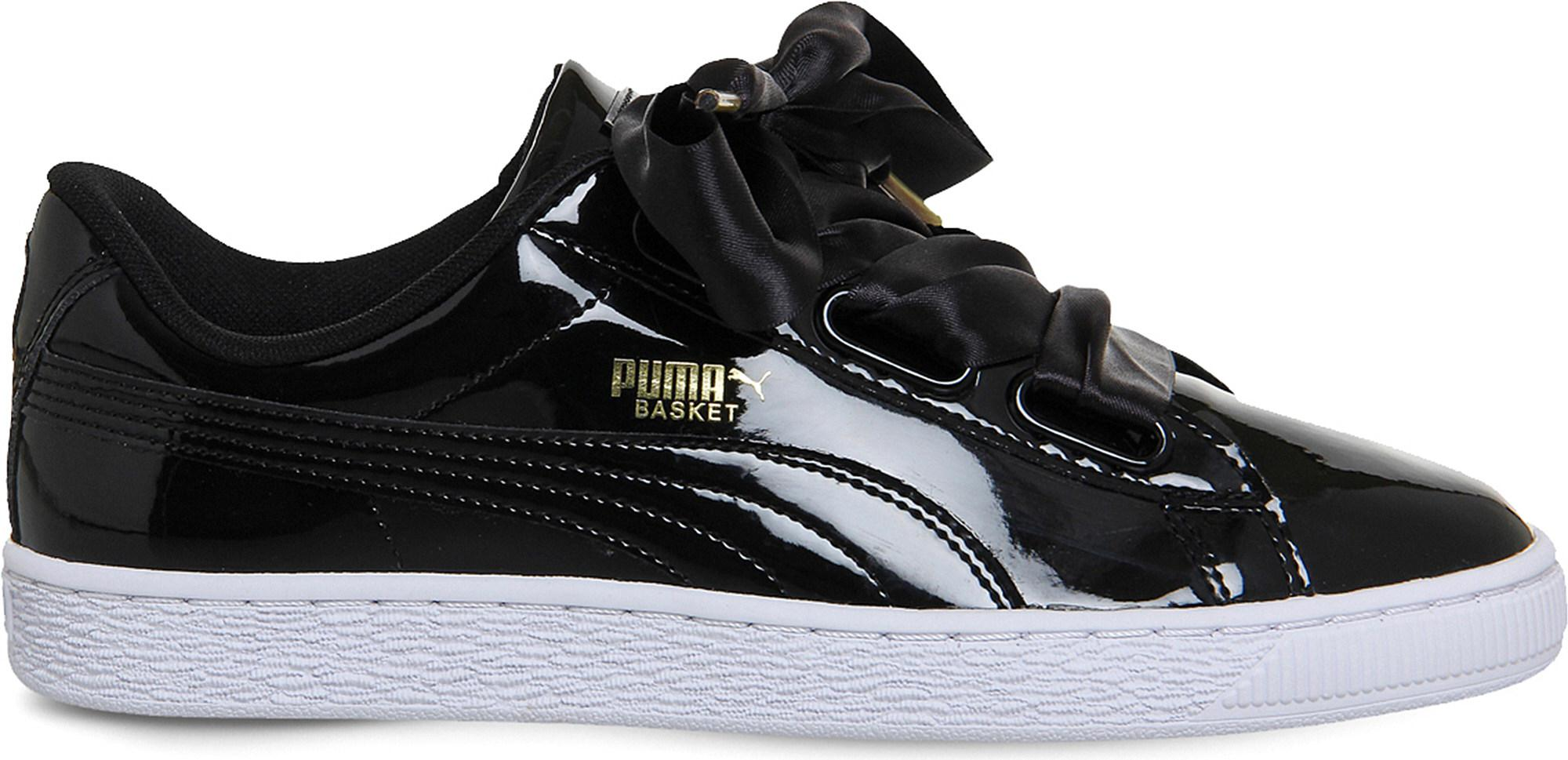 8a9ba3018ccef0 Lyst - PUMA Basket Heart Patent-leather Trainers in Black