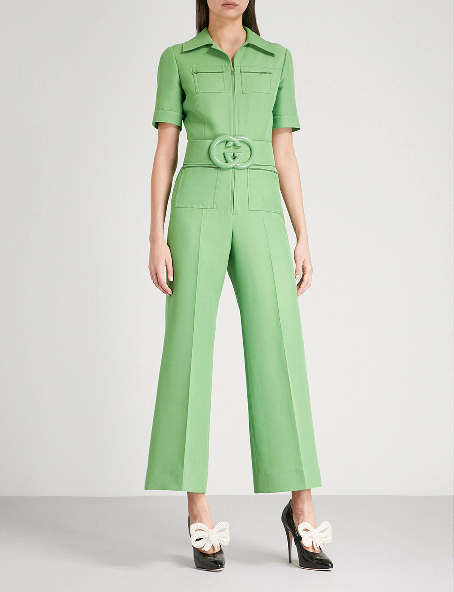 36ab4221021 Lyst - Gucci Belted Wool-blend Jumpsuit in Green