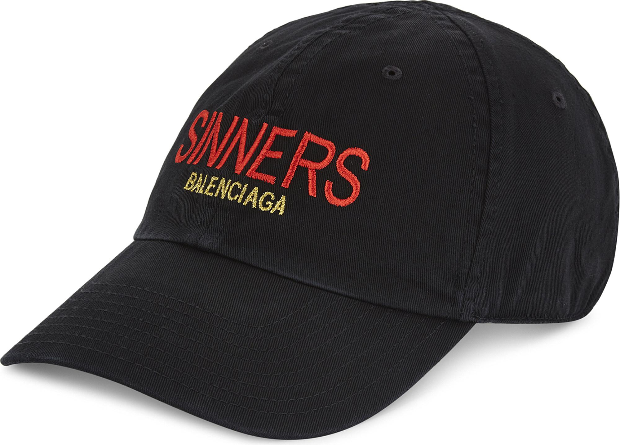 2c610674e47 Lyst - Balenciaga Sinner Capsule Cotton Strapback Cap in Black for Men