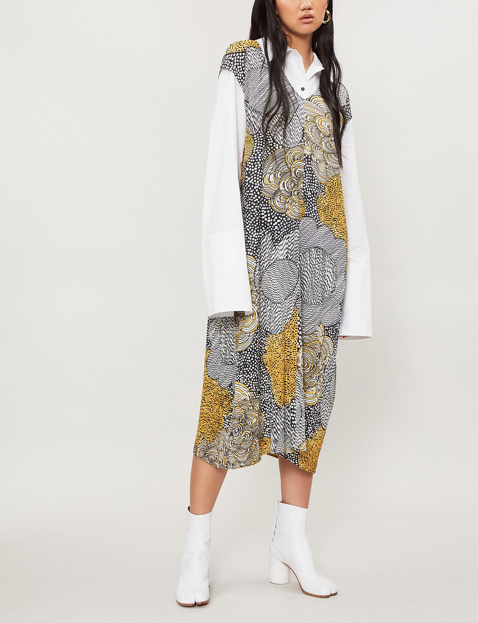 7a755844a5e Pleats Please Issey Miyake Mass Floral-print Pleated Dress in Yellow ...
