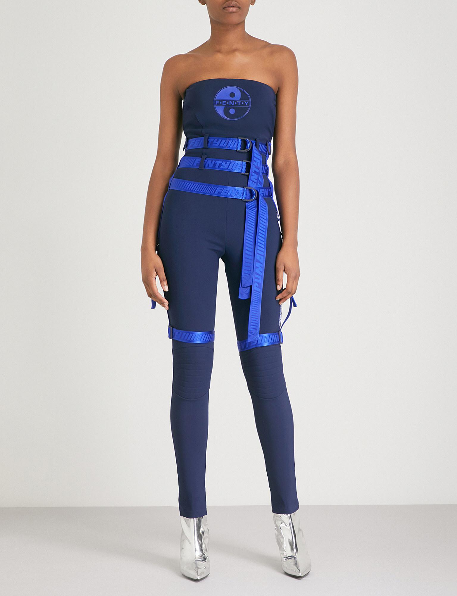 d9032e6625 Lyst - PUMA Harness-detail Strapless Neoprene Jumpsuit in Blue