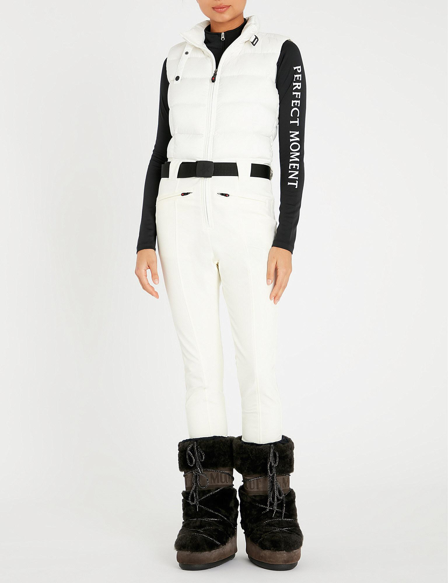 aa80b416ca35 Perfect Moment - White Sleeveless Quilted Shell-down Ski Jumpsuit - Lyst.  View fullscreen