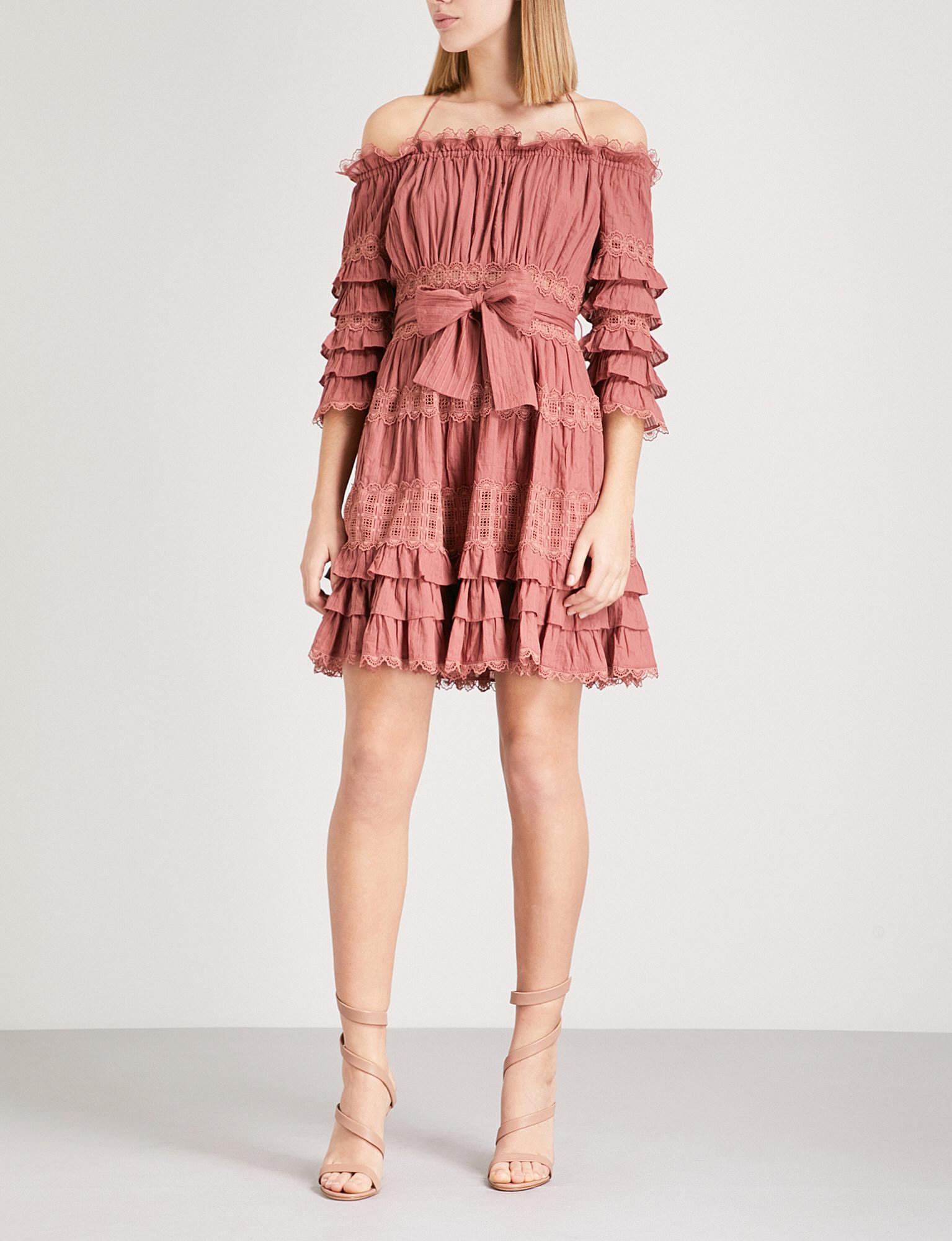 Womens Corsair Cotton Tiered Off-The-Shoulder Dress Zimmermann NGTj4a