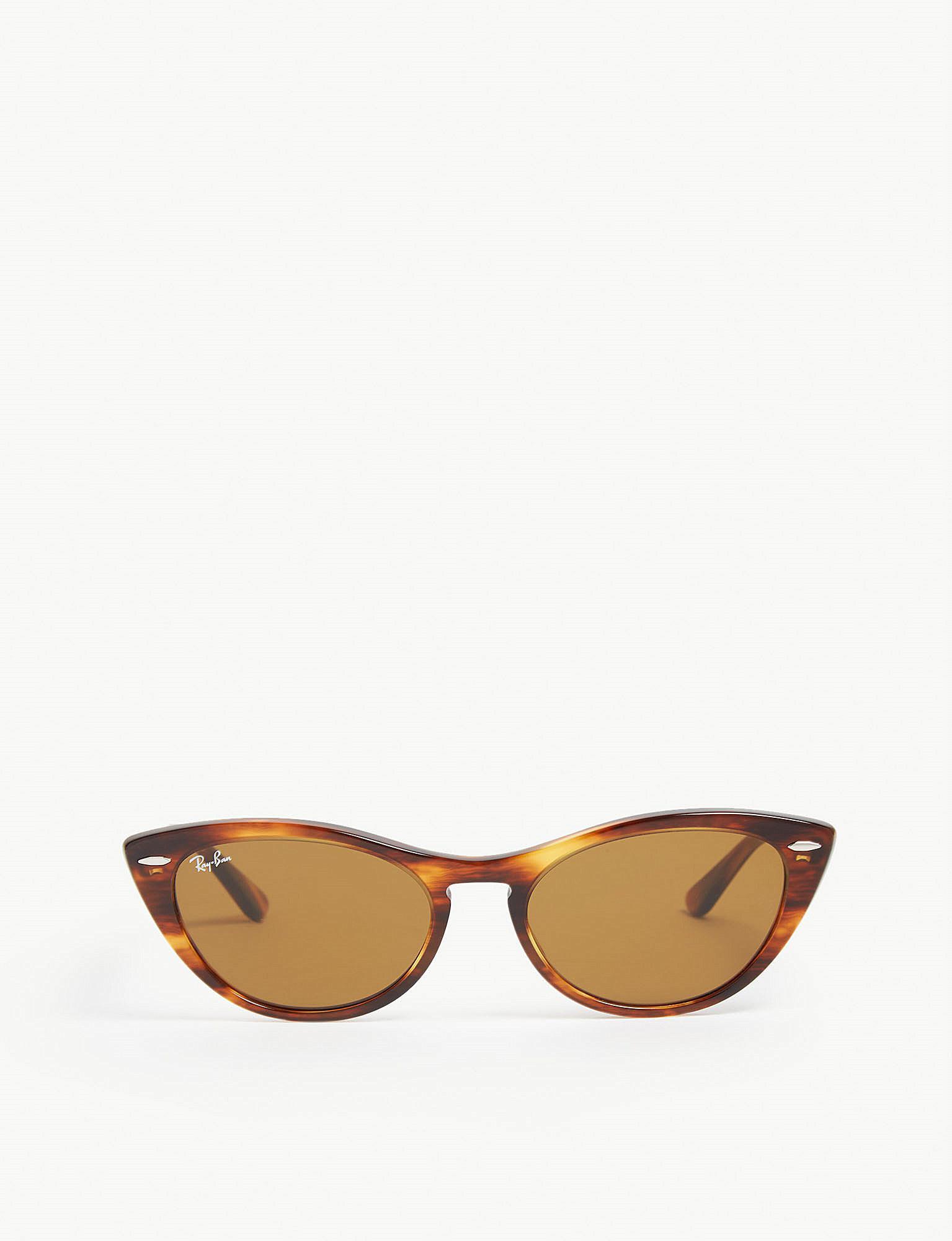 3427e4e24b Ray-Ban Rb4314 Nina Cat-eye-frame Havana Sunglasses in Brown - Lyst