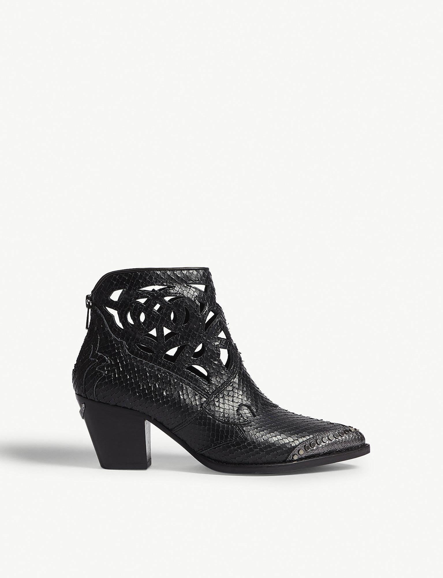Zadig Voltaire Cara Snake Embossed Leather Cowboy Boots In Black