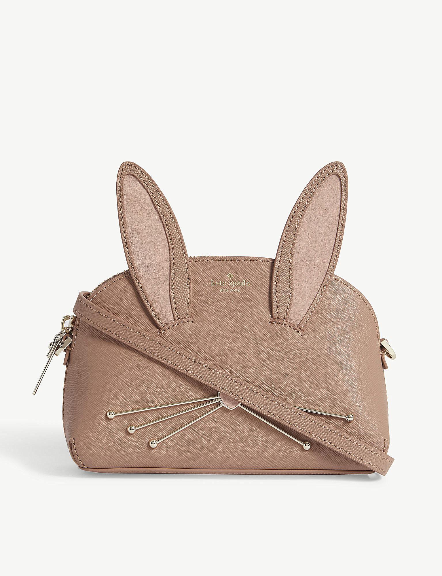 Kate Spade Women S Las Brown And Pink Rabbit Lottie Suede Shoulder Bag