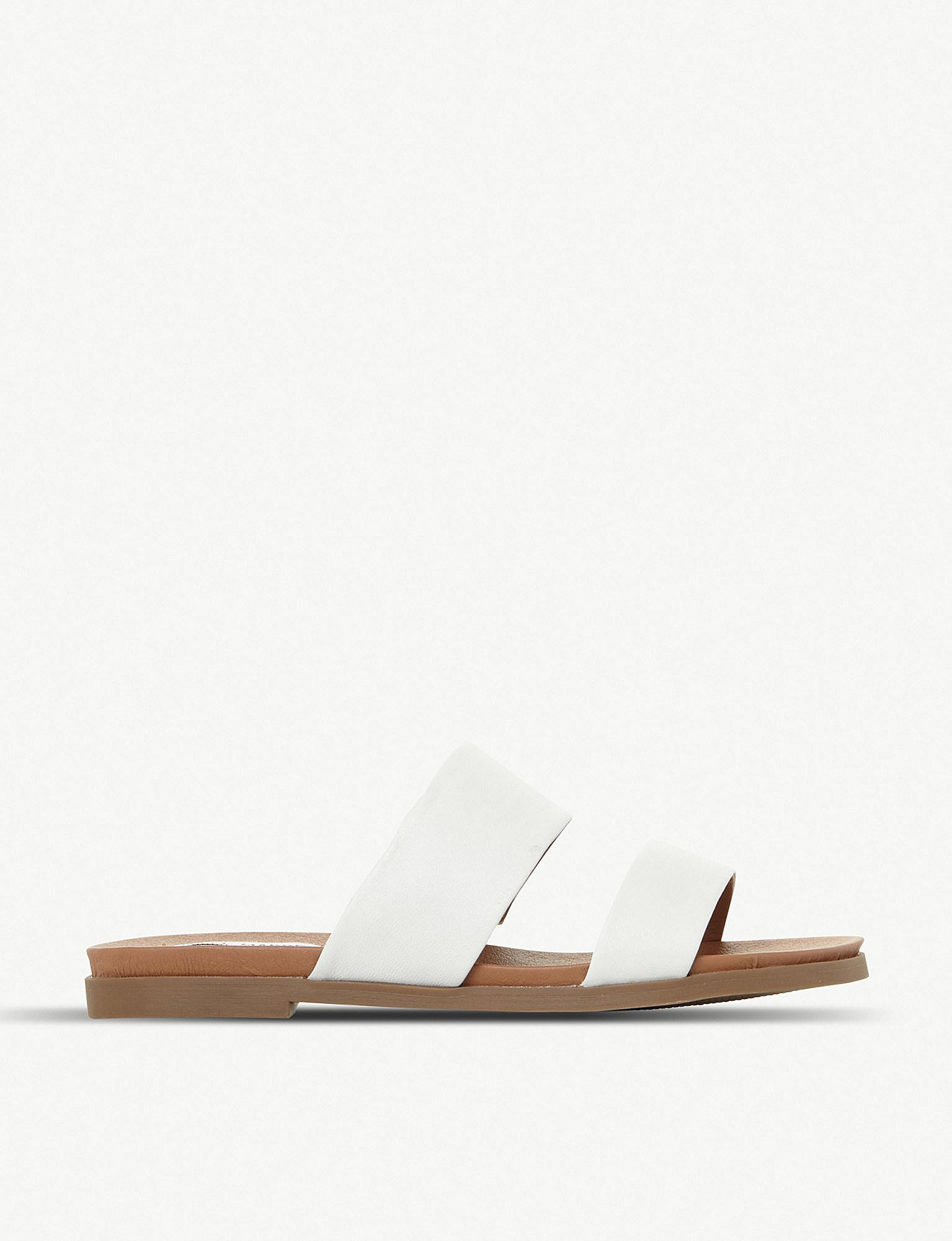 9bfbdbb0ed3 Lyst - Steve Madden Judy Two Band Leather Sliders in White