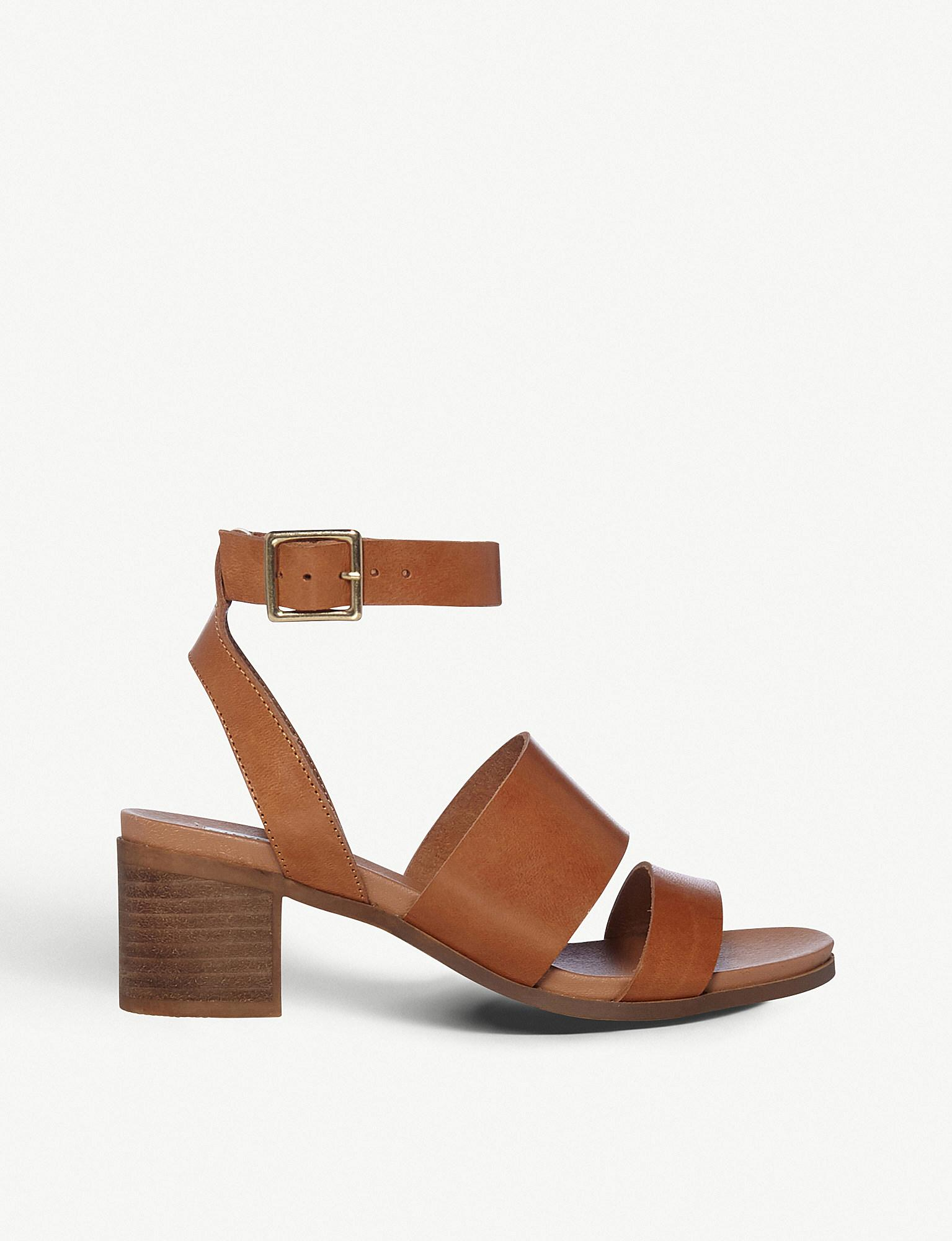 3553d458333 Steve Madden Alex Open-toe Leather Heeled Sandals in Brown - Lyst