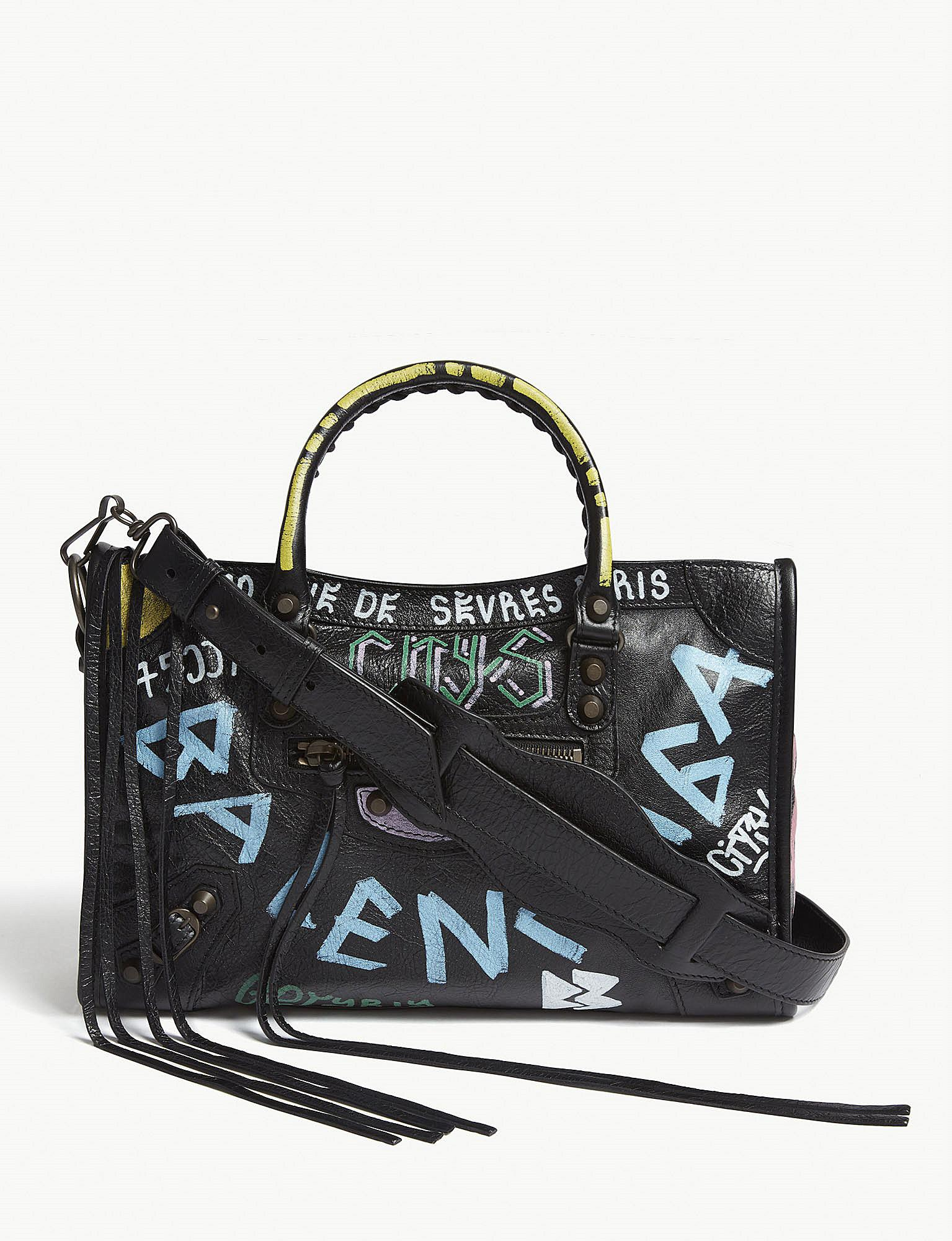 886d3b9e5783f Balenciaga Ladies Black And Blue City Graffiti Print Leather ...