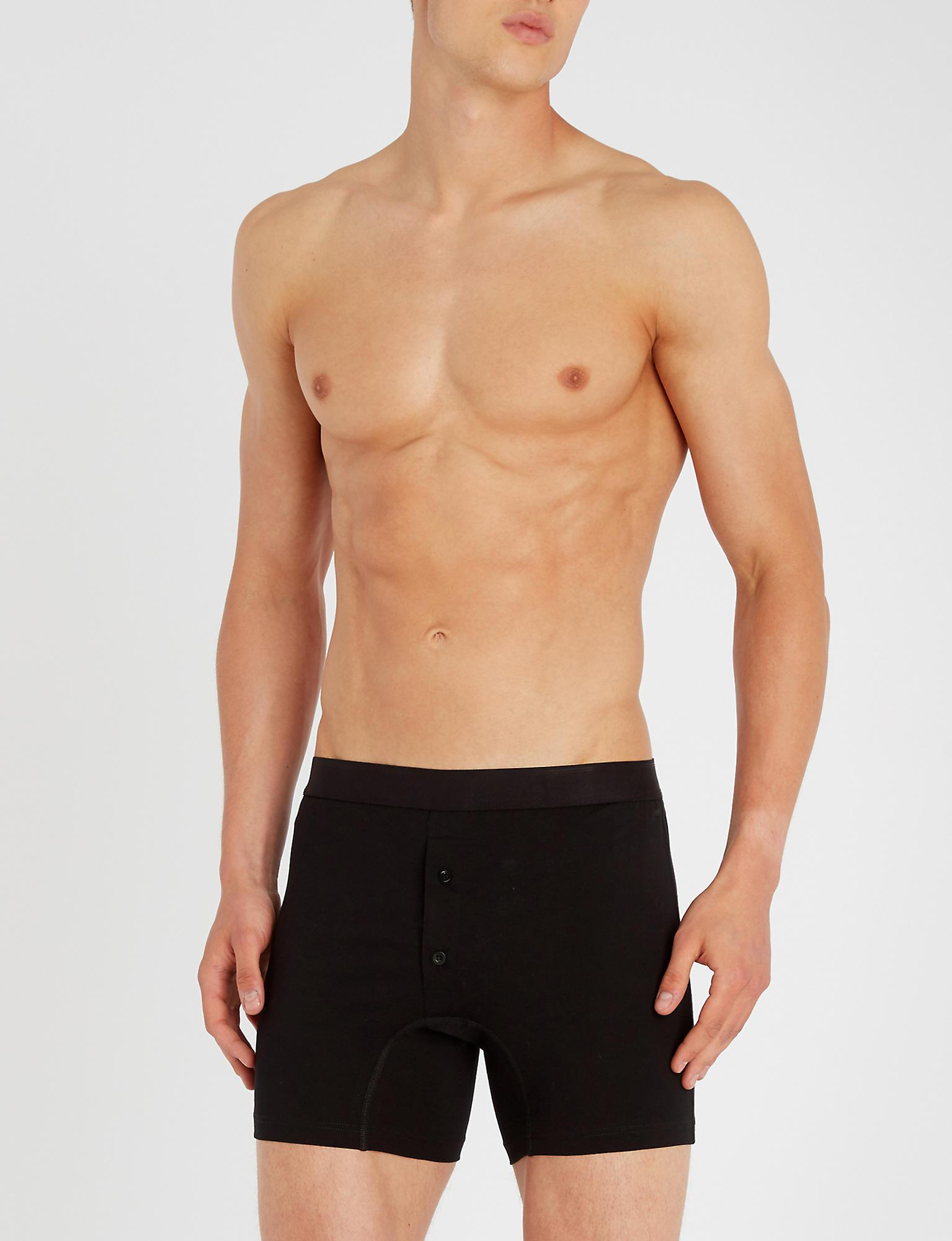 86a361f2c7ab Sunspel - Black Superfine Egyptian Cotton Two-button Boxer Shorts for Men -  Lyst. View fullscreen