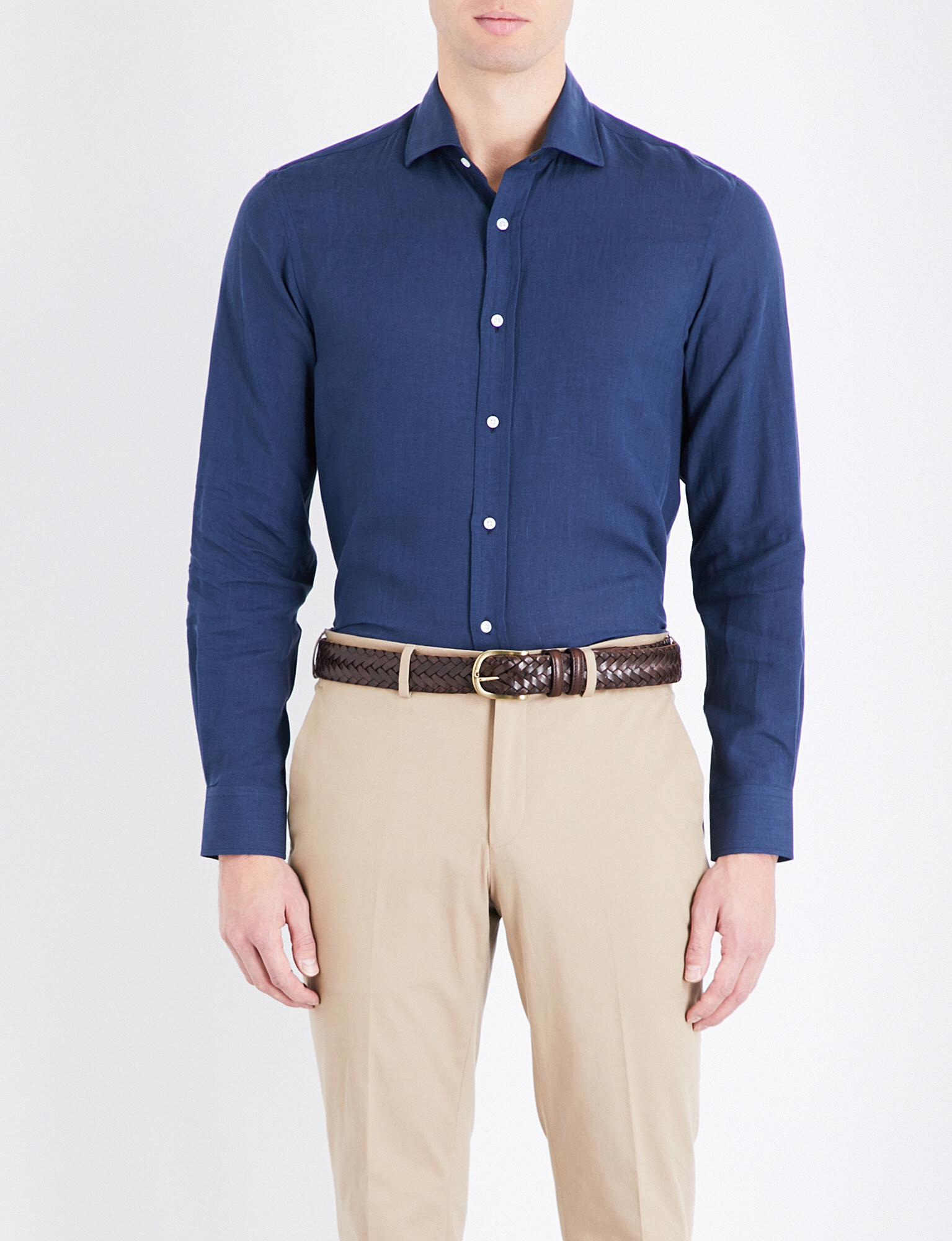 Ralph Lauren Purple Label. Men's Blue Serengeti Linen Shirt