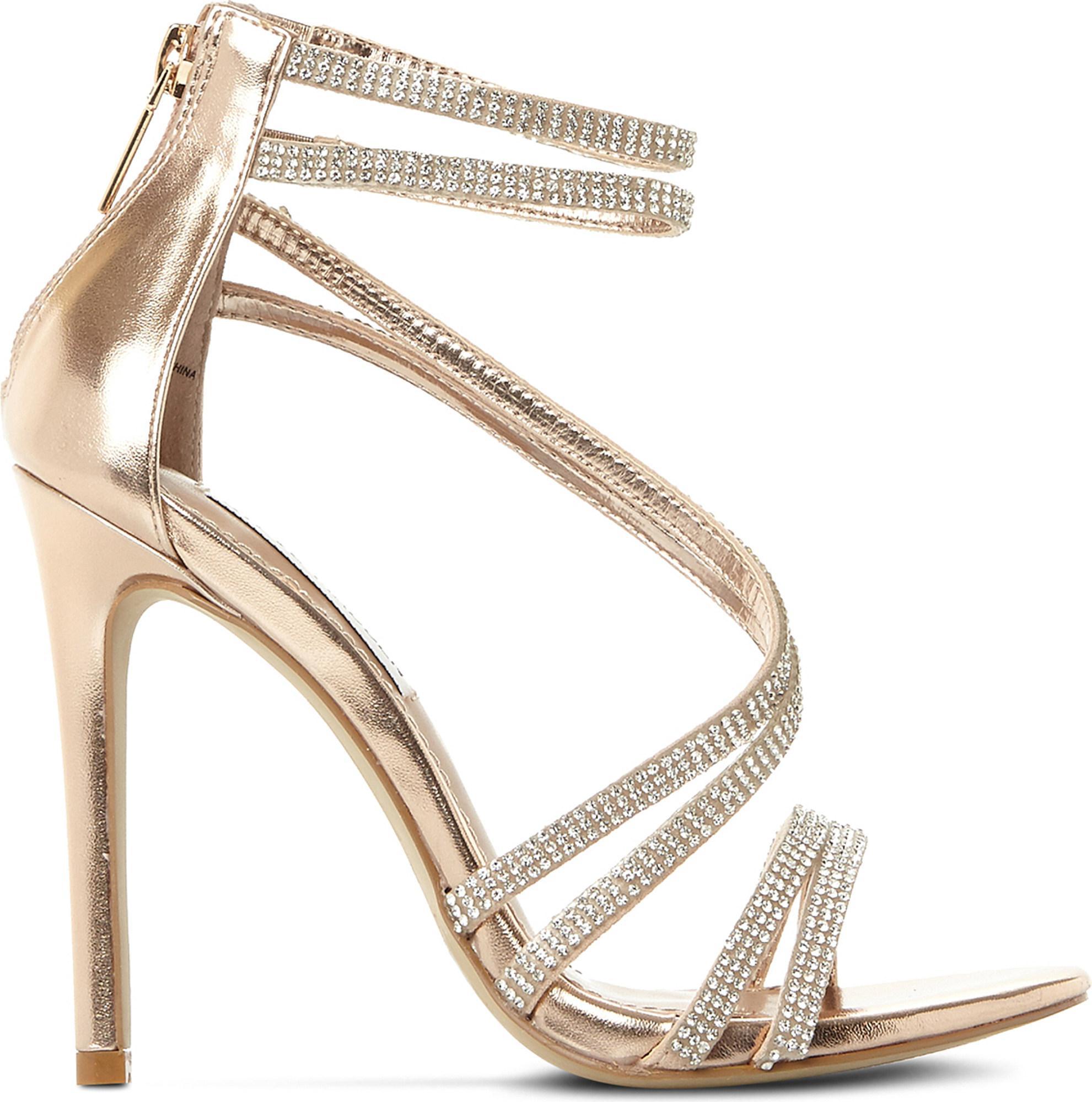 21ae5582cf06 Steve Madden Sweetest Embellished Heeled Sandals in Metallic - Lyst