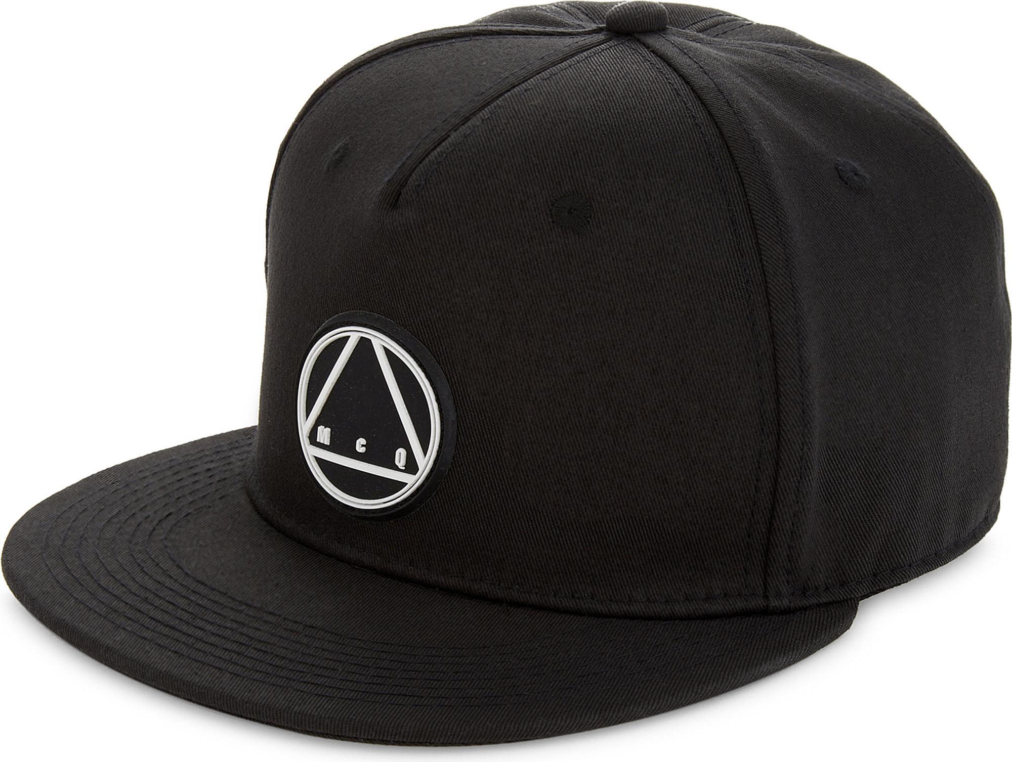 c1d758eb McQ Triangle Logo Cotton Snapback Cap in Black for Men - Lyst