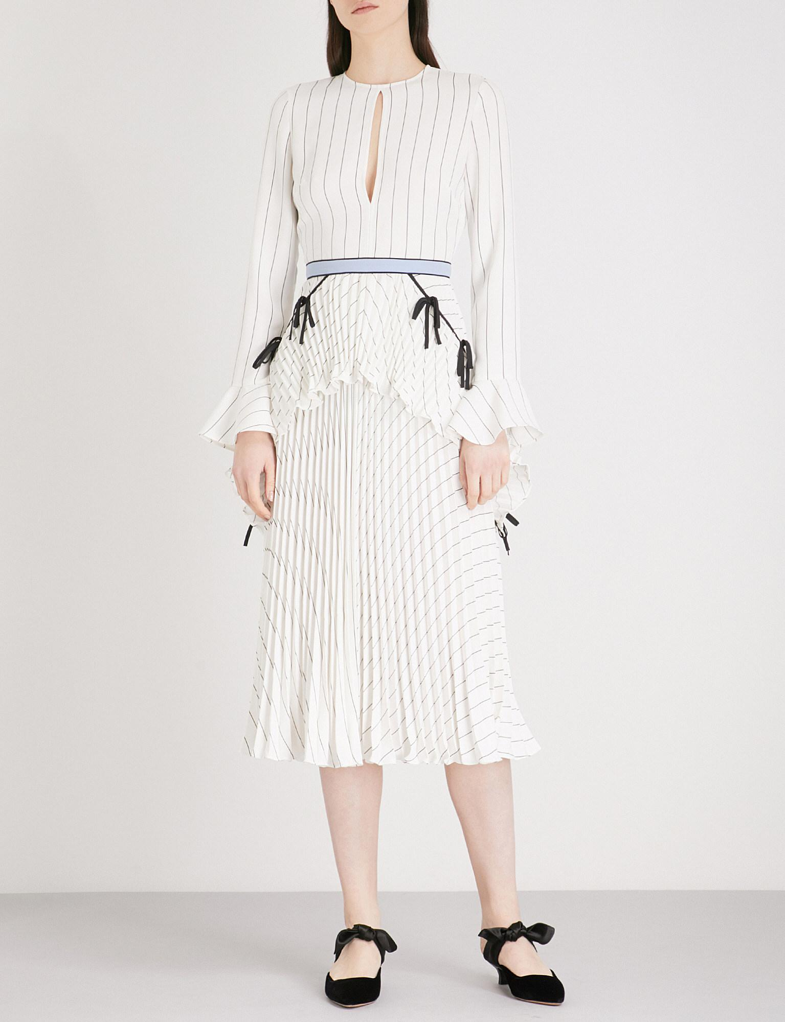 7bd0d00a8c2 Self-Portrait Pleated Monochrome Stripe Crepe Midi Dress in White - Lyst