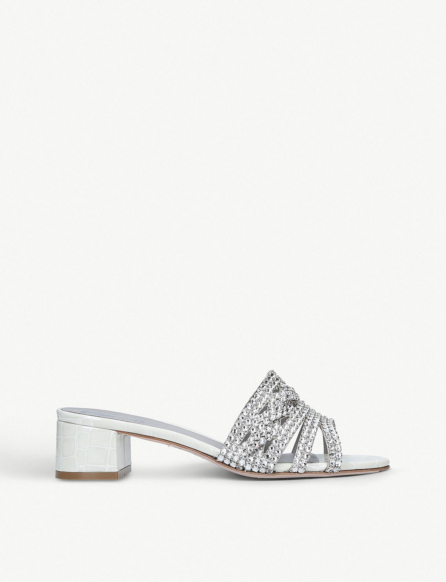 da7a783048d Gina Rodeo Crocodile-embossed Leather Mules in Metallic - Lyst
