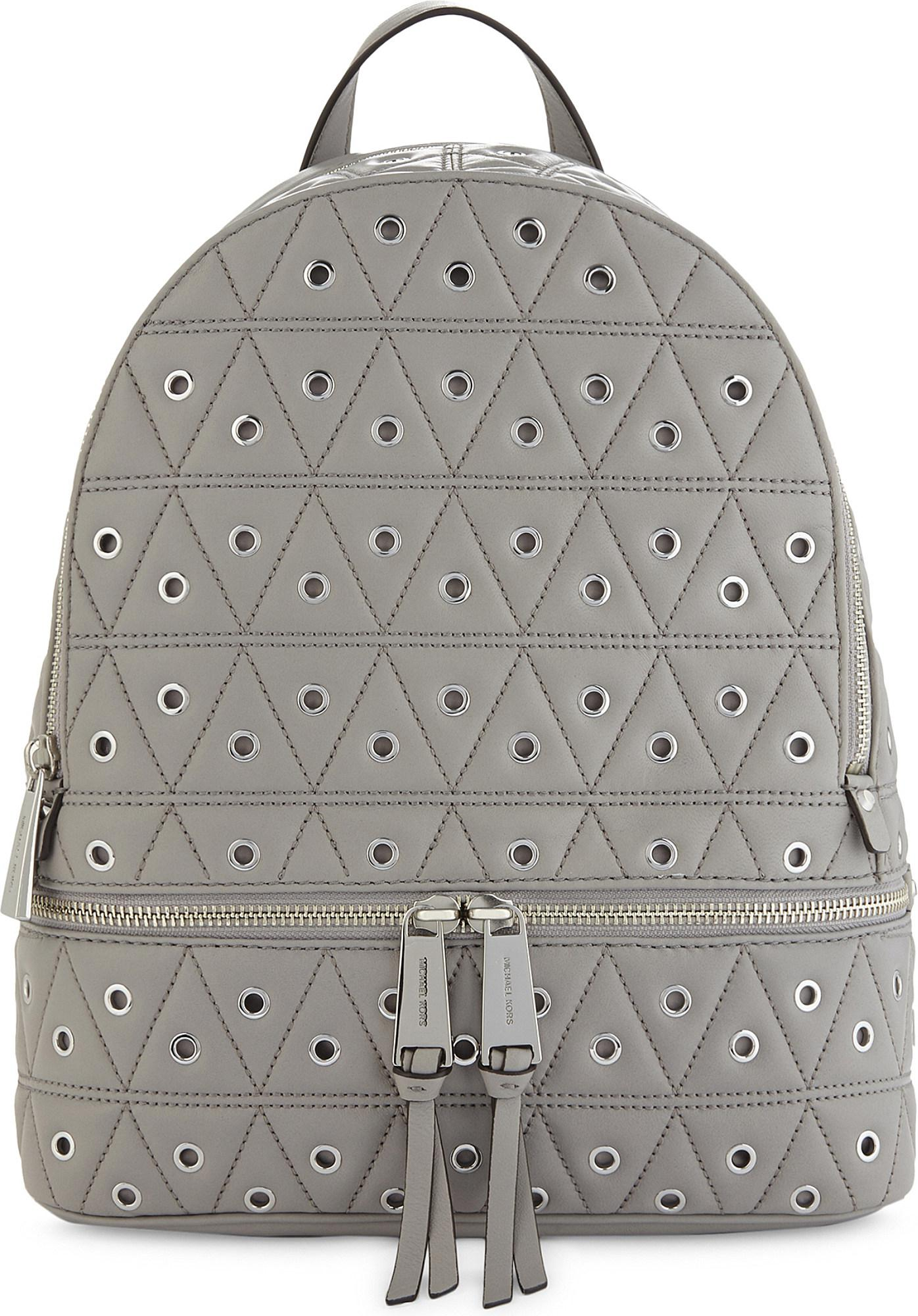322a193fd9d4f Lyst - MICHAEL Michael Kors Rhea Quilted Grommeted Leather Backpack ...