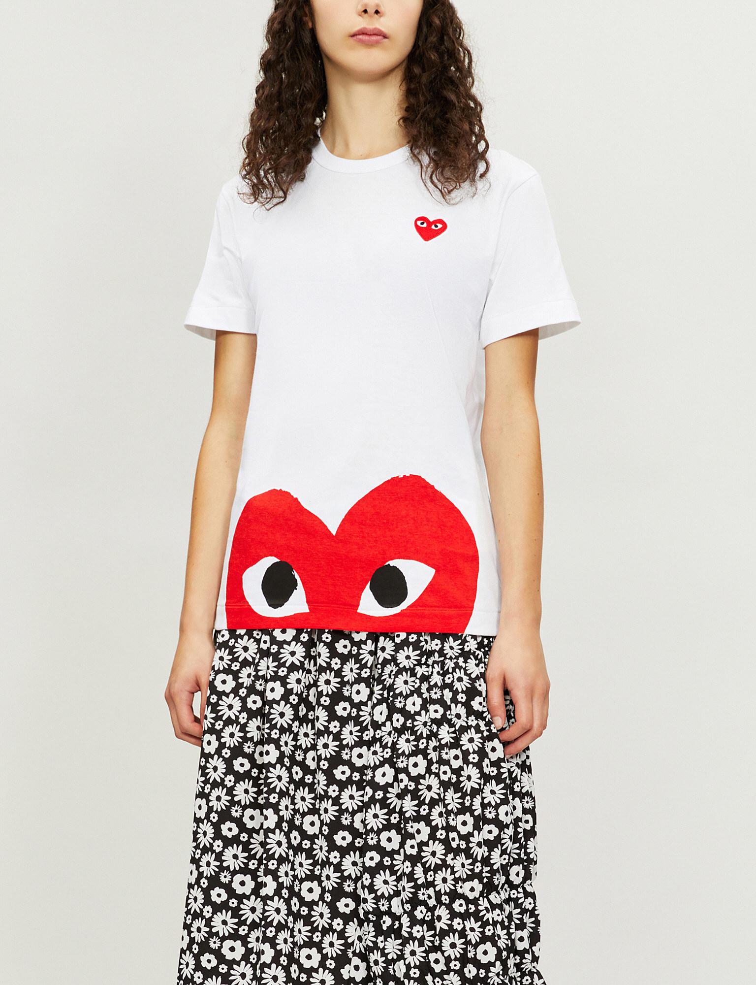 0e400888542 COMME DES GARÇONS PLAY. Women s White Big Heart-appliqué Cotton-jersey T- shirt