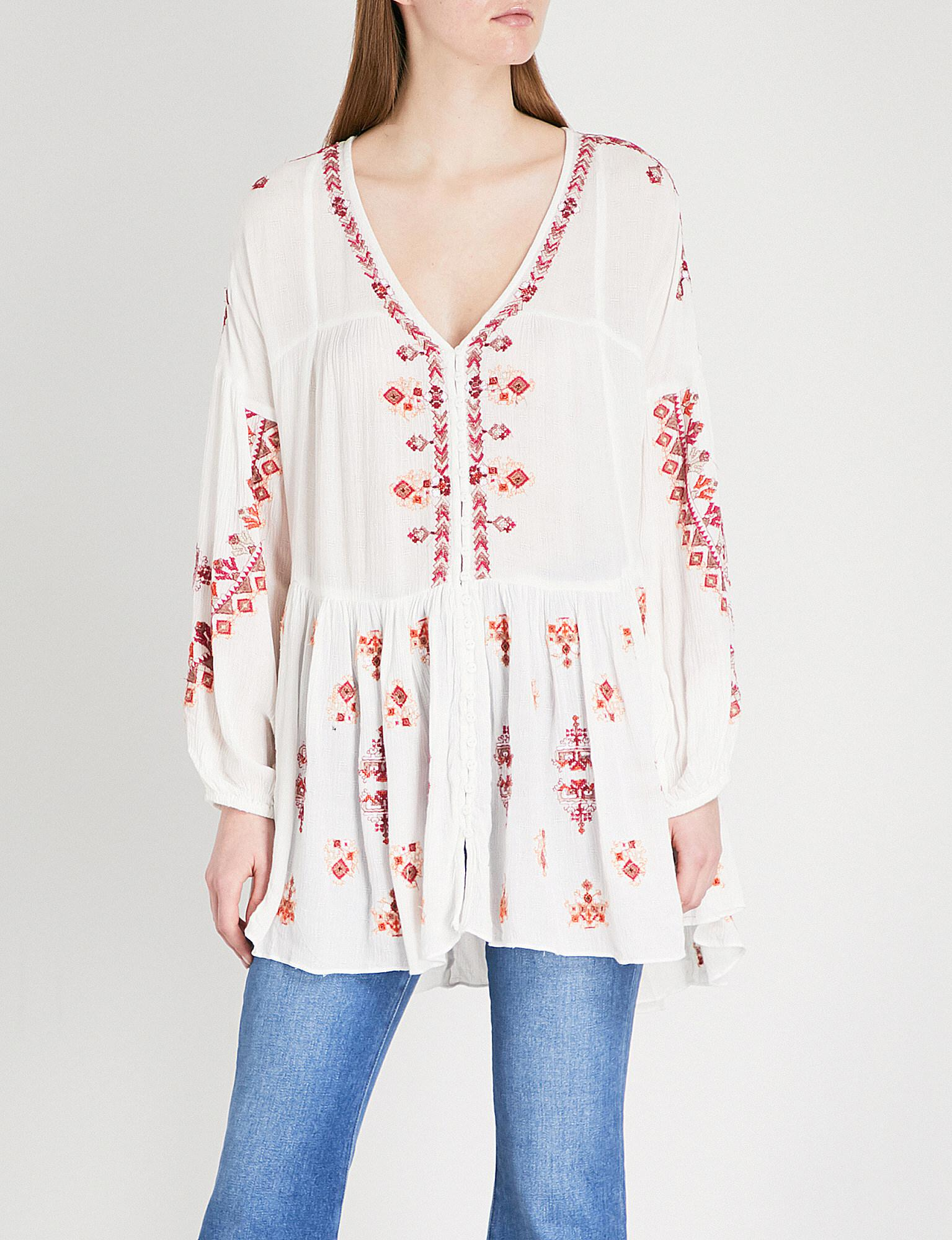 5f304cc6eed Lyst - Free People Arianna Embroidered Woven Top in White