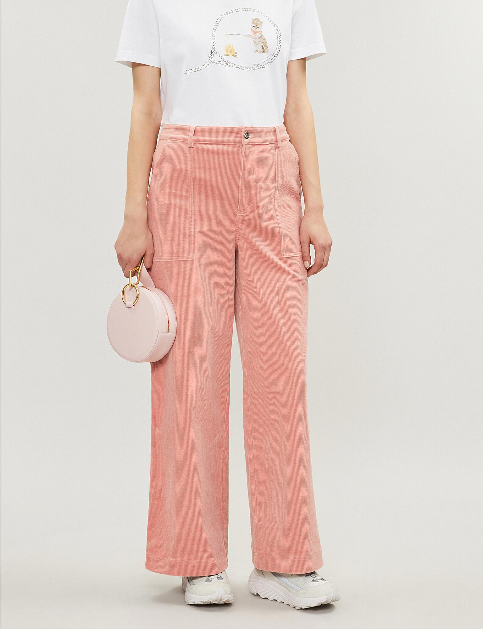 f27c40d2c657c9 Lyst - Ganni Ridgewood Wide-leg High-rise Corduroy Trousers in Pink