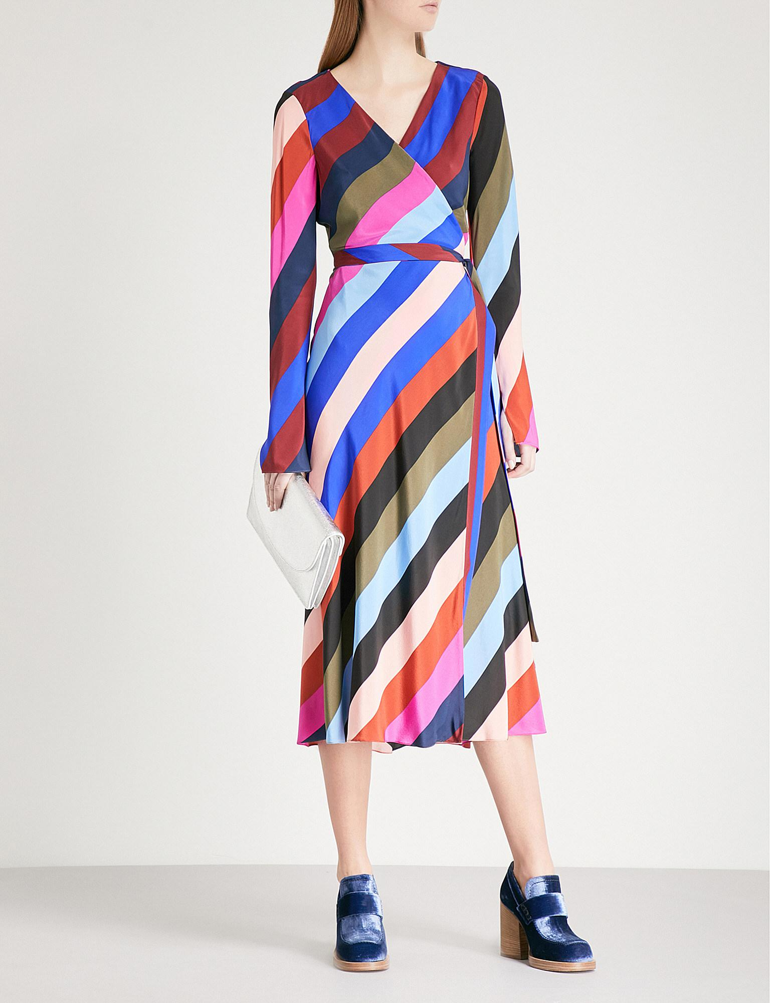 b9b93068d1 Diane von Furstenberg Striped Silk-crepe Wrap Dress in Blue - Lyst