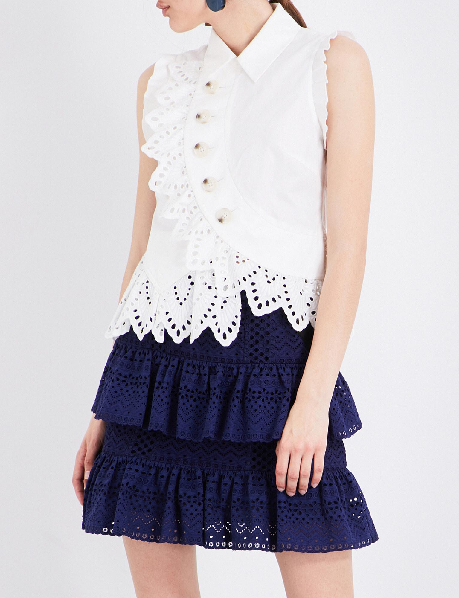 f902dc338 Lyst - Self-Portrait Broderie-anglaise Trim Cotton-blend Top in White