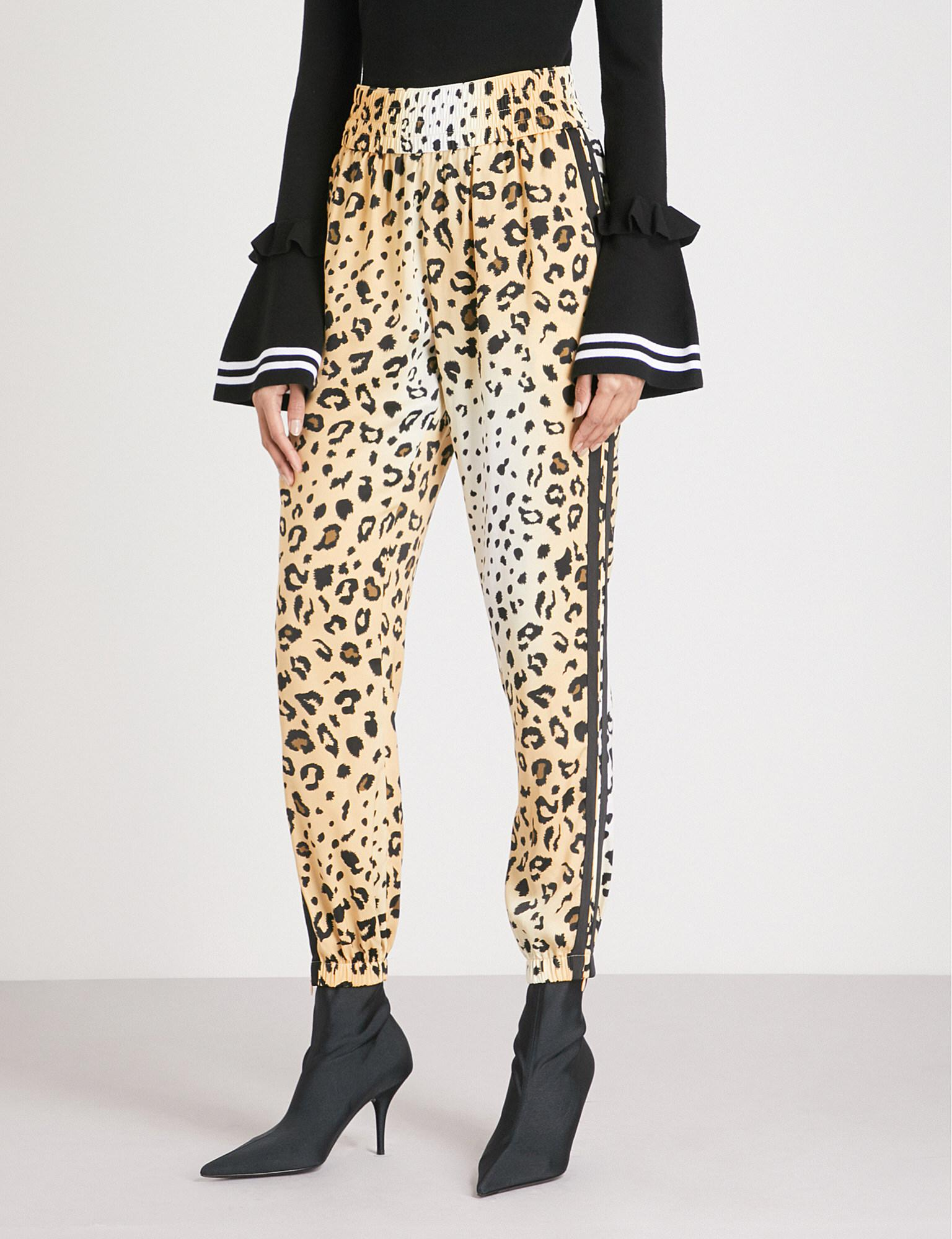 8bbba8afd119 Kendall + Kylie Leopard-print Relaxed-fit Satin Jogging Bottoms - Lyst