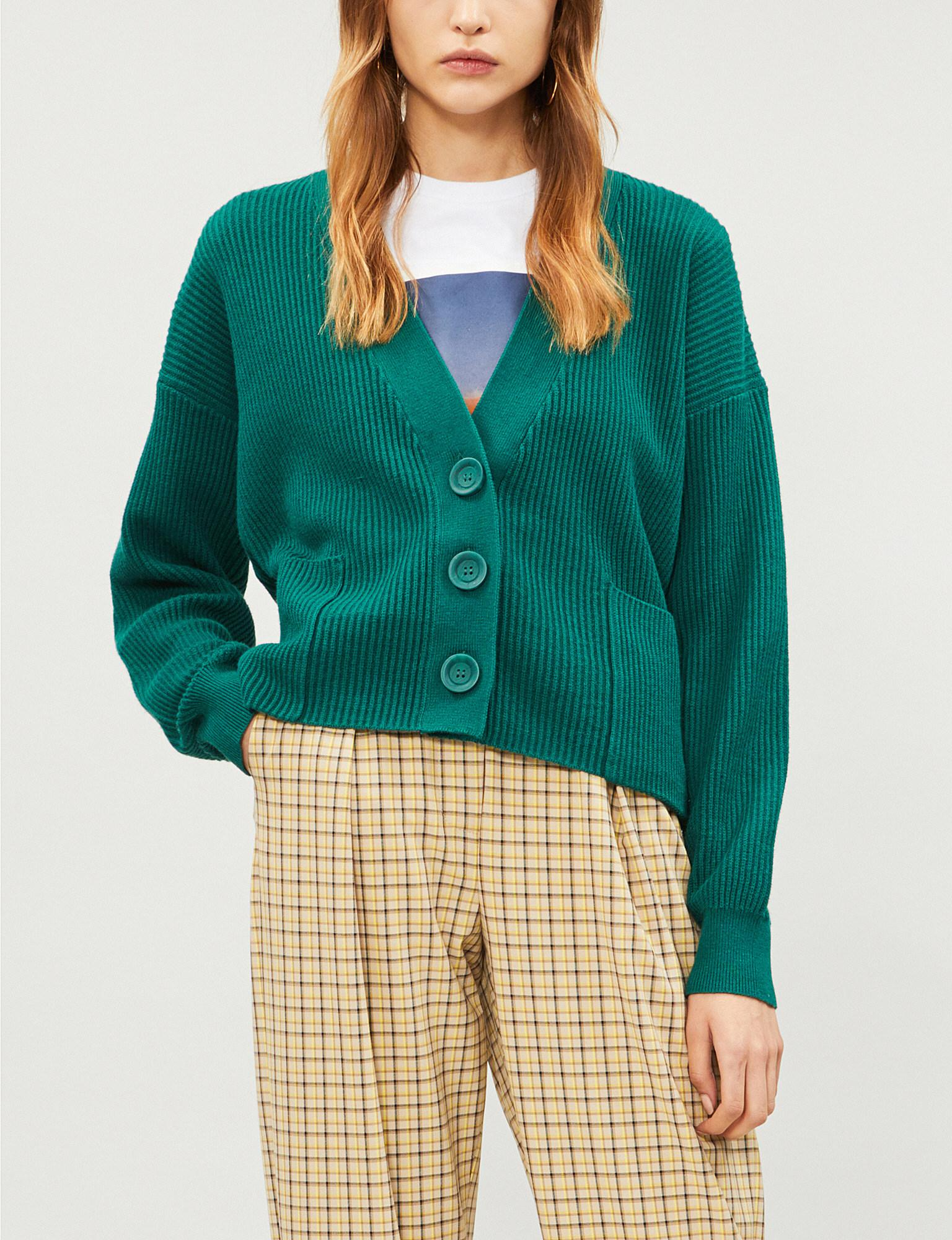 Lyst - Kitri Sana Ribbed Cotton And Cashmere-blend Cardigan in Green 7341413a7