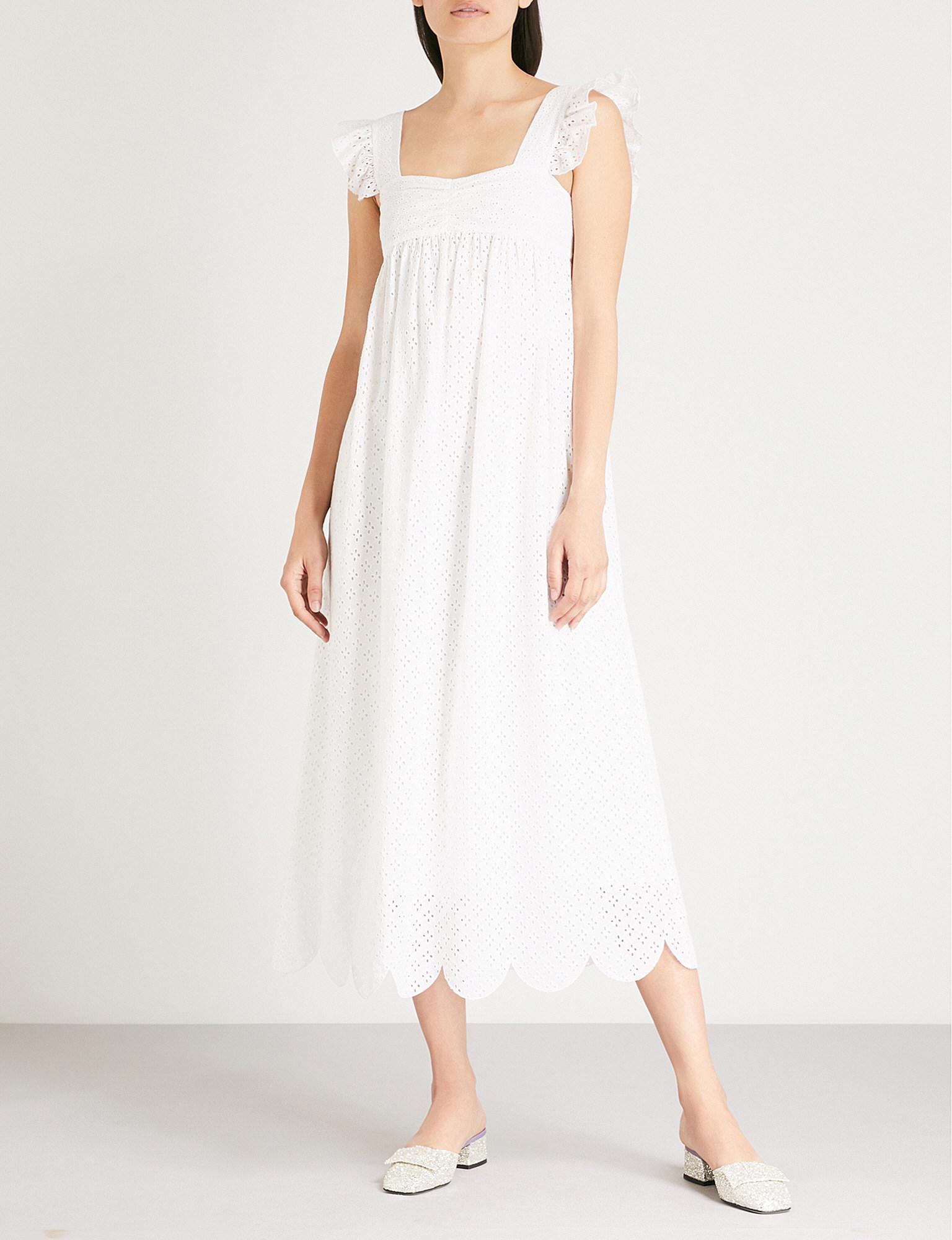 Alexa Chung Woman Gathered Embroidered Linen Mini Dress White Size 10 AlexaChung YI80kTjnv4