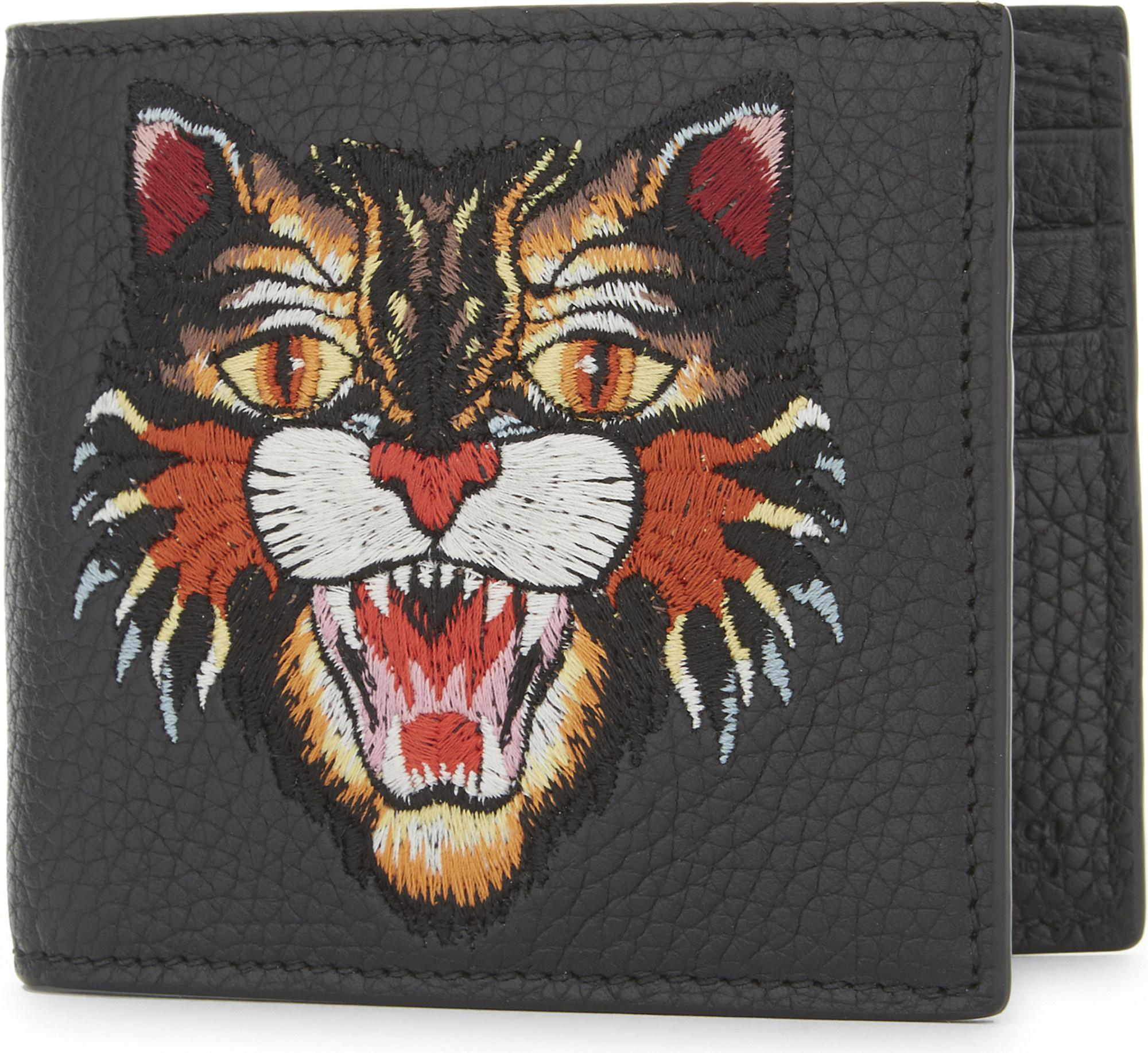70c442840 Gucci Rev D'orient Tiger Embroidered Leather Billfold Wallet in ...