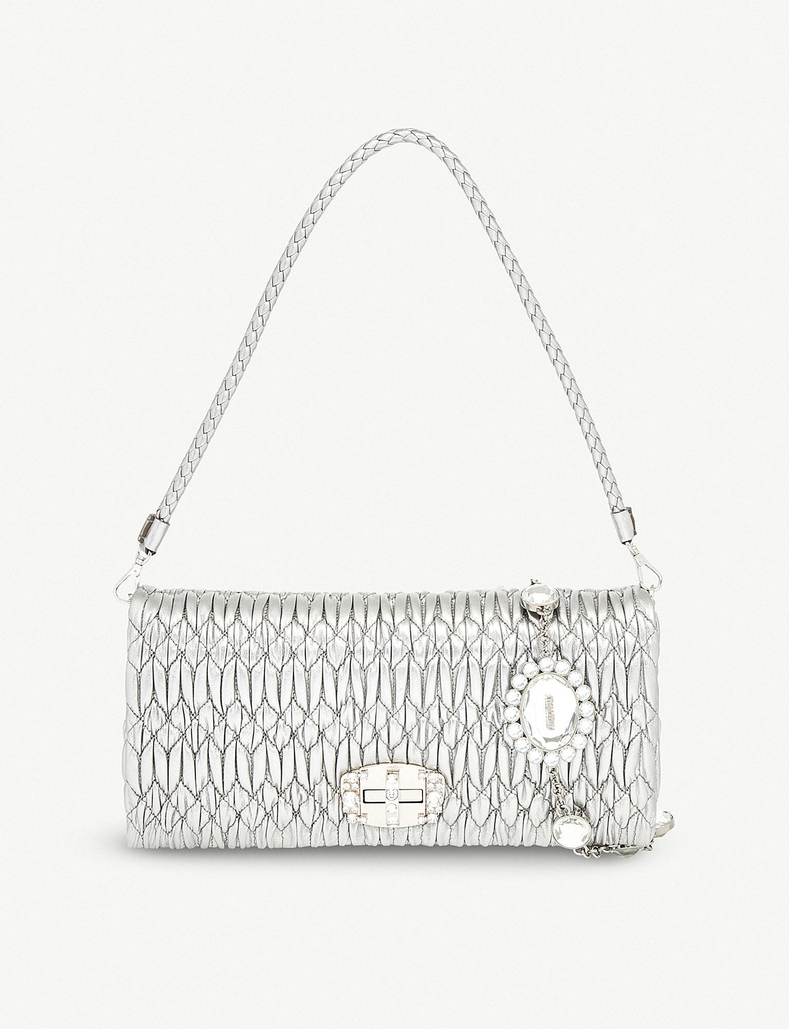 9eedceba6daaa Miu Miu - Multicolor Cloqué-texture Leather Clutch Bag - Lyst