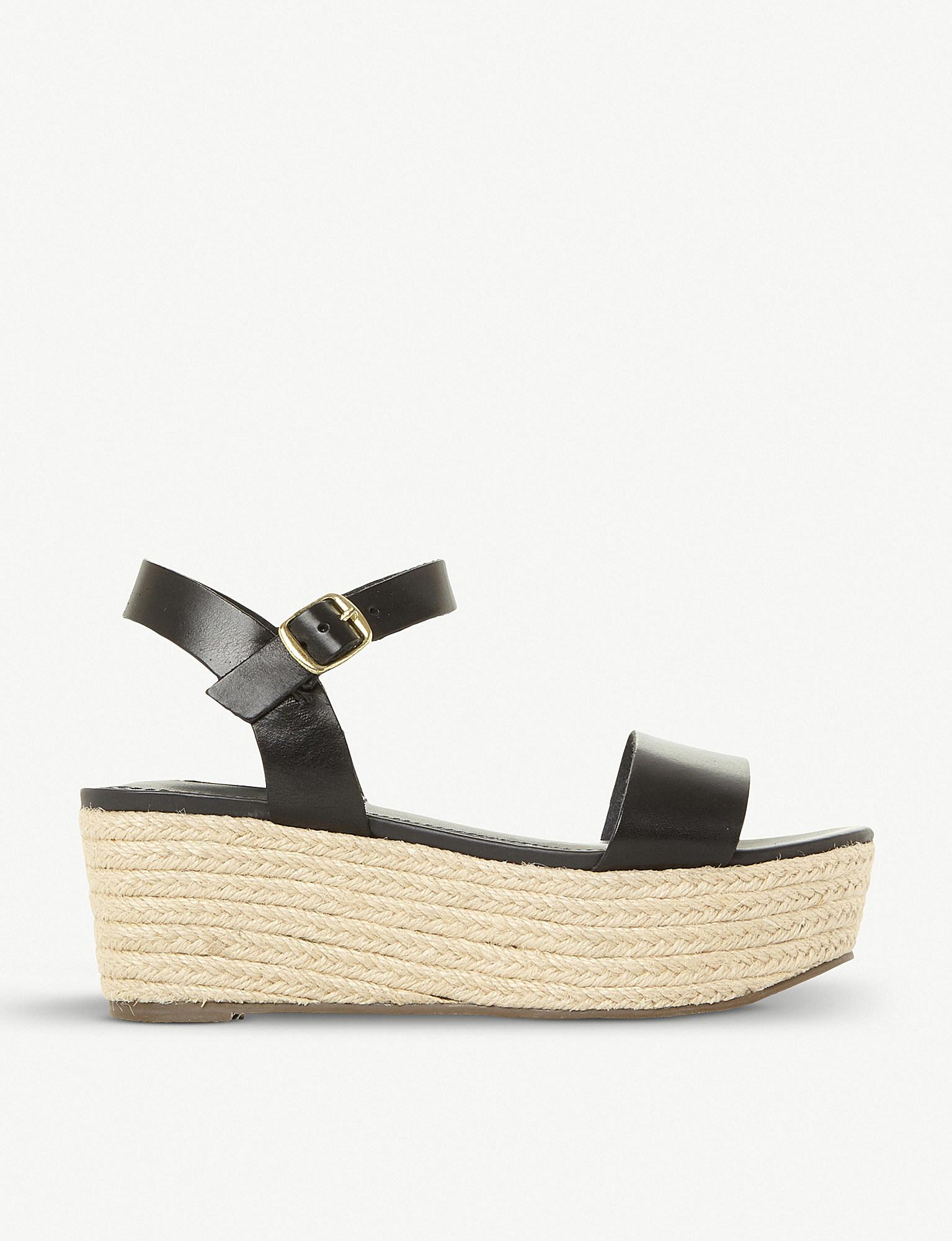 534c46bfffb8 Steve Madden Busy Sm Leather And Jute Platform Sandals in Black - Lyst