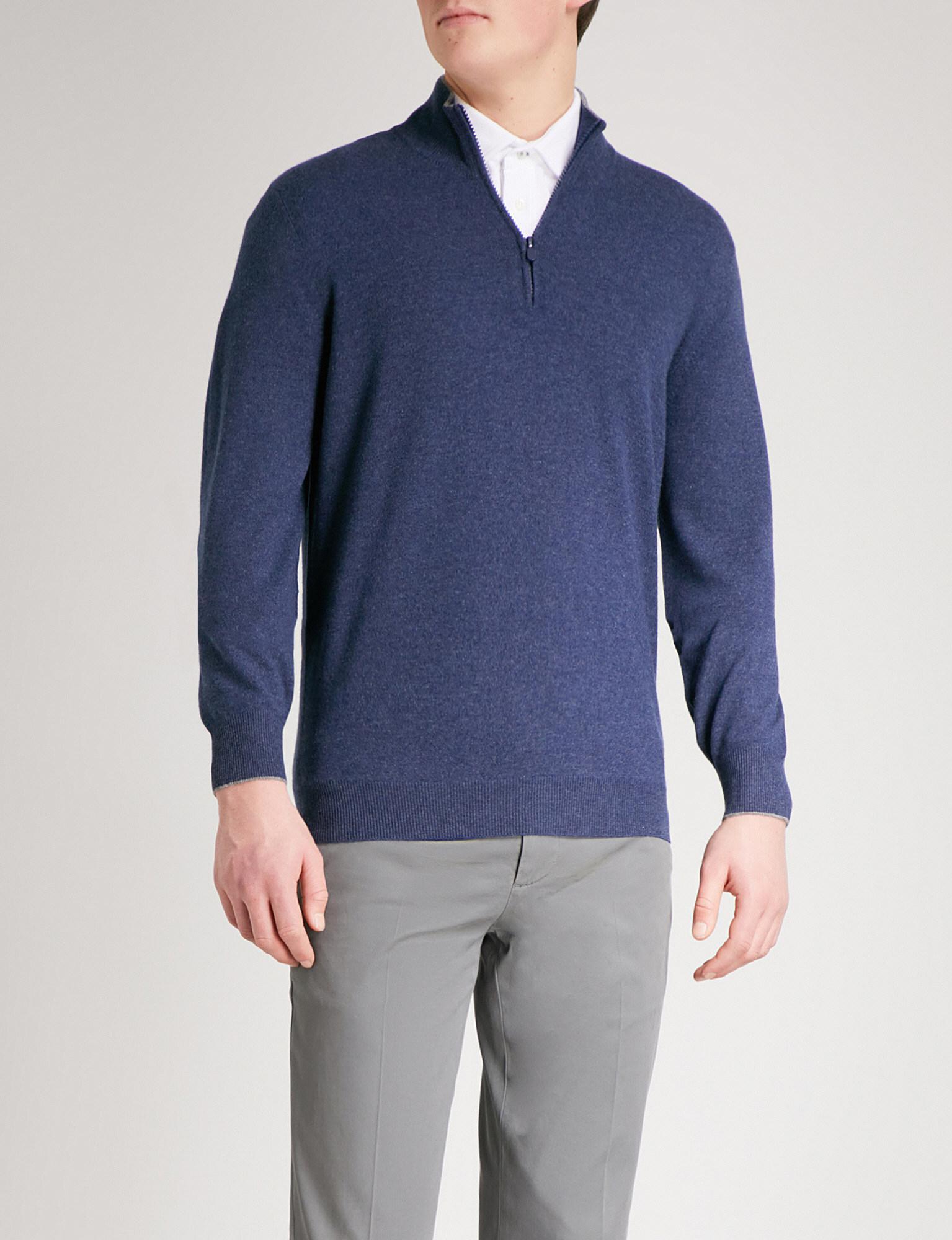 Brunello Cucinelli. Men's Blue Zip-detail Cashmere Jumper