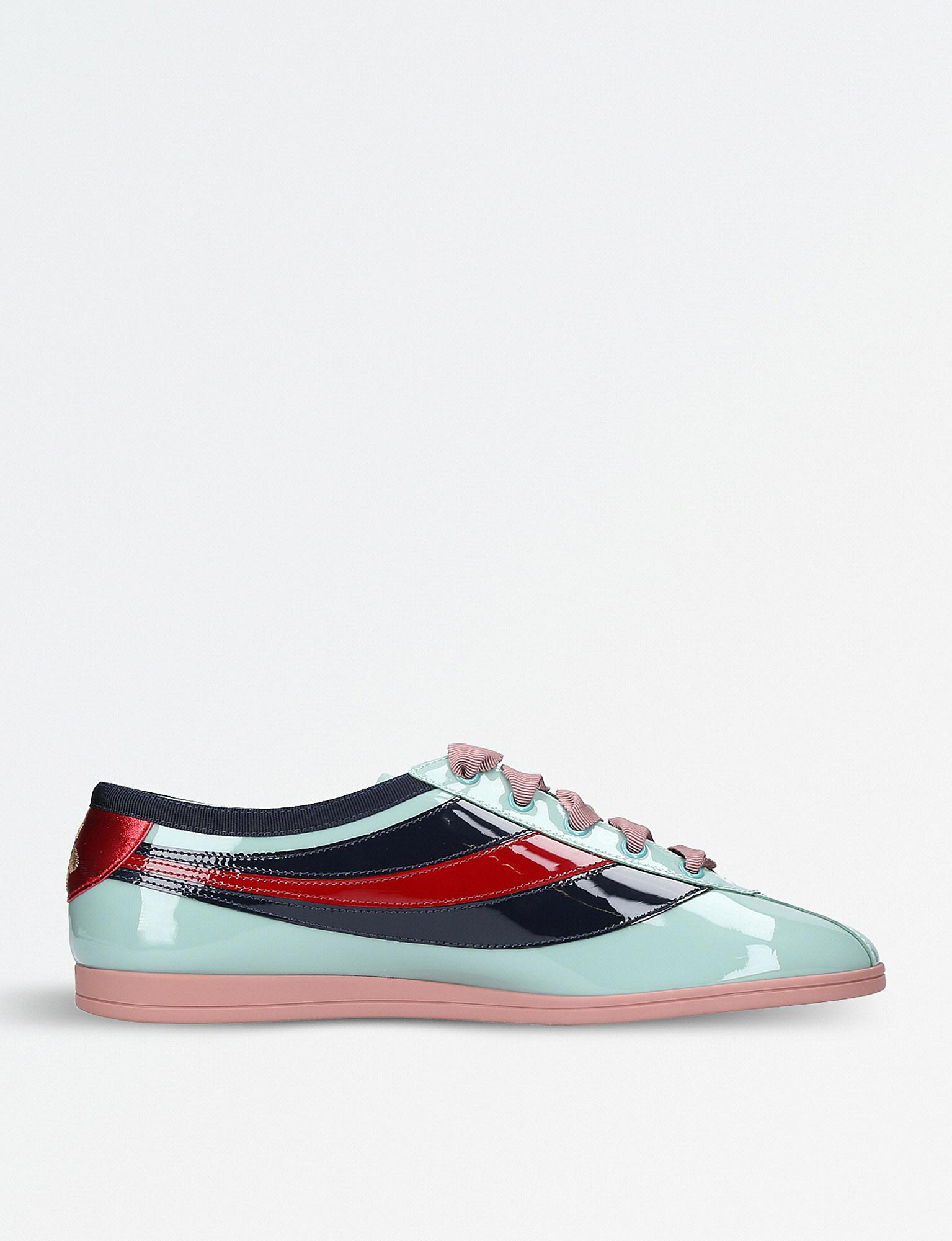 50bdff4db5f Gucci Falacer Patent Leather Sneakers in Blue - Lyst