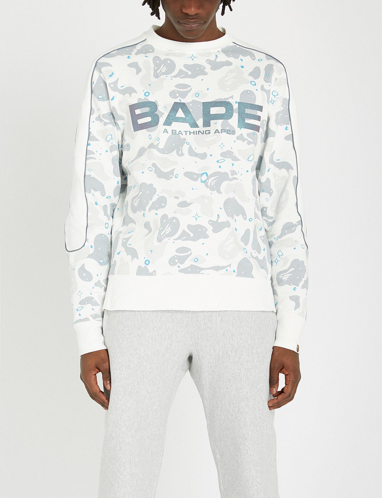 ff6a772b A Bathing Ape. Men's White Space Camouflage Logo-print Cotton-jersey  Sweatshirt