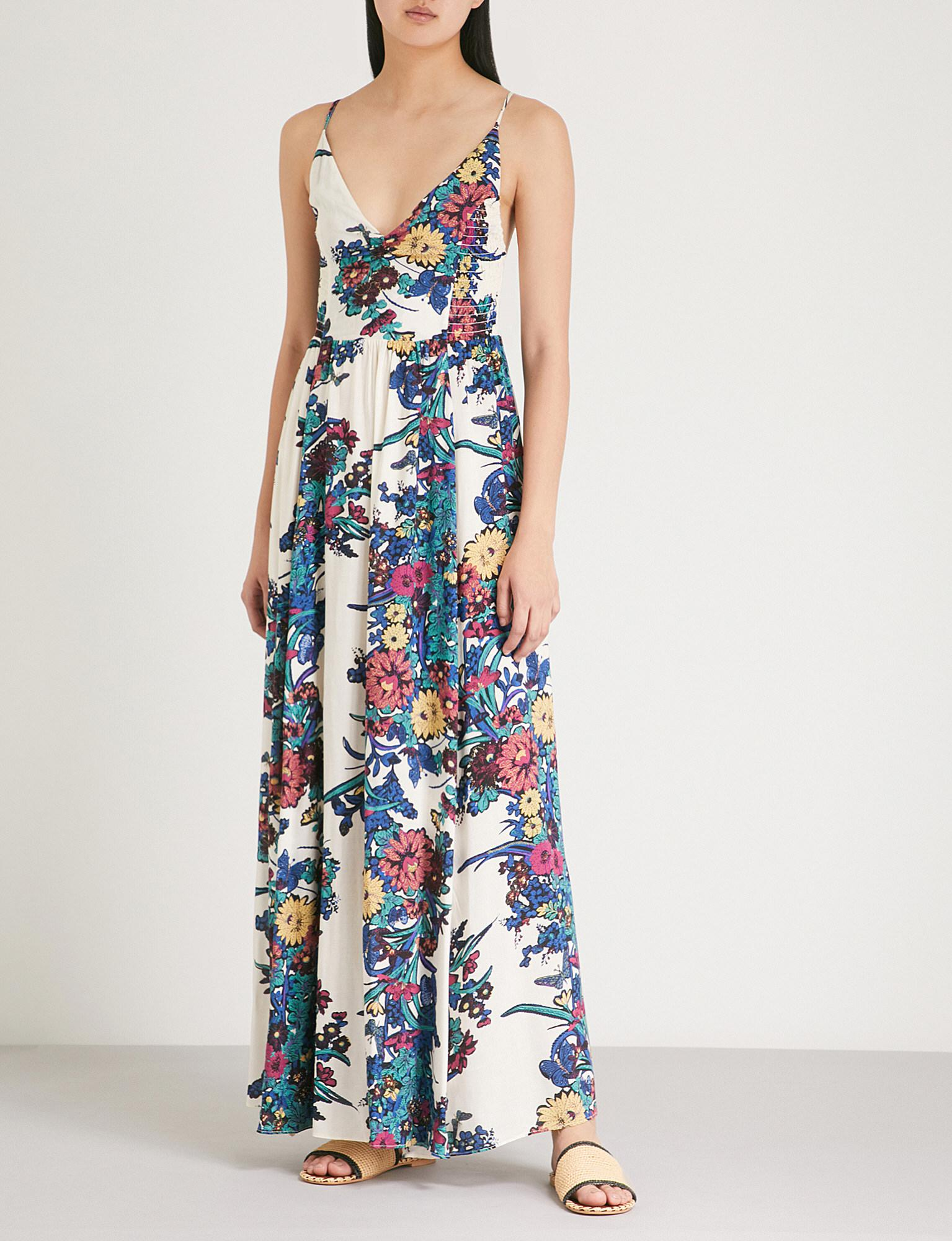 aee68f60a8ce Lyst - Free People Through The Vine Floral-print Woven Dress in Blue