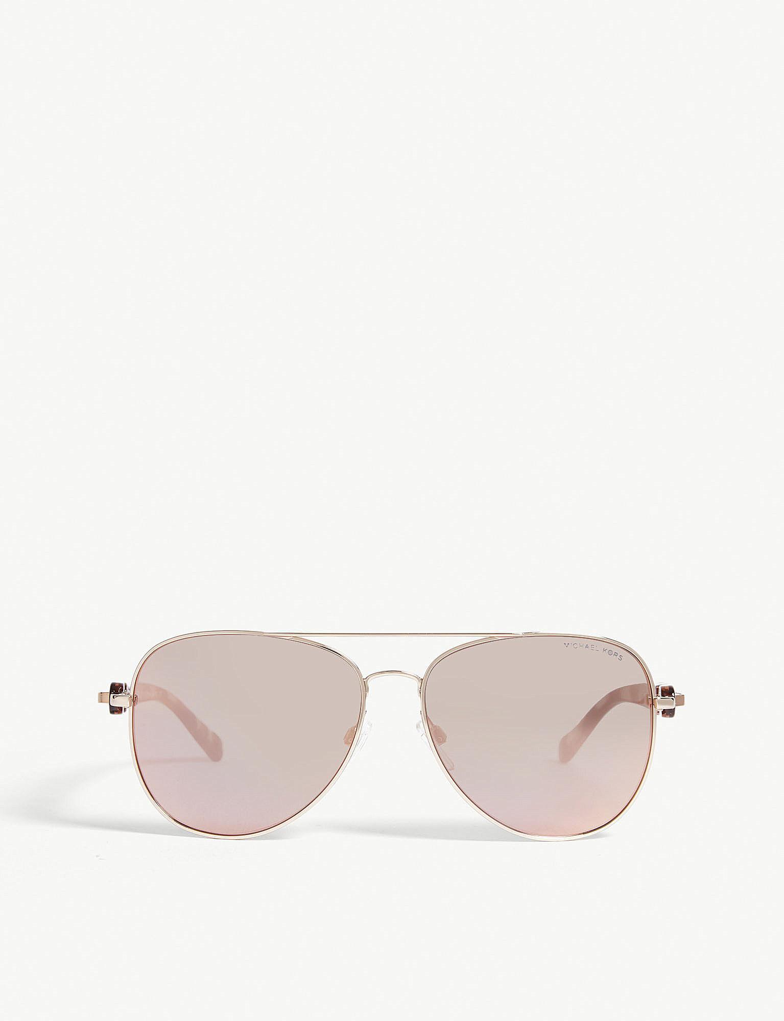 5f52098529c Michael Kors Mk1015 Pandora Pilot-frame Sunglasses in Pink - Lyst