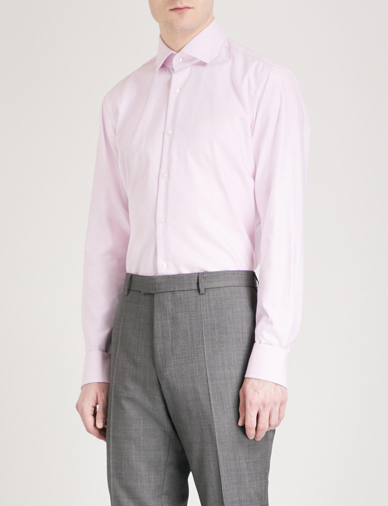 16594c2a6 BOSS Micro-check Pattern Regular-fit Cotton Shirt in Pink for Men - Lyst