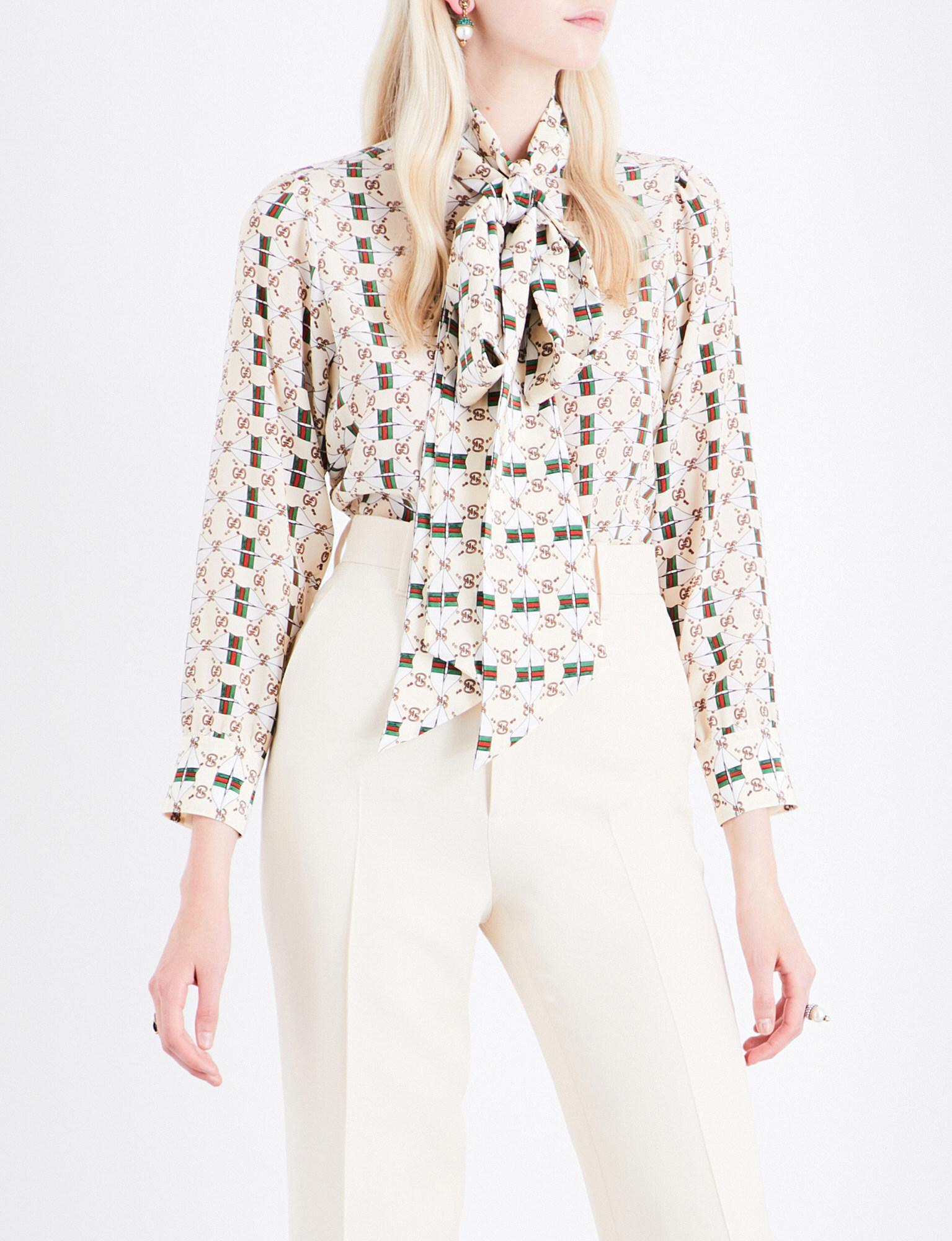 dafadd5e8d2 Lyst - Gucci Pussy-bow Monogram-print Silk Blouse in White