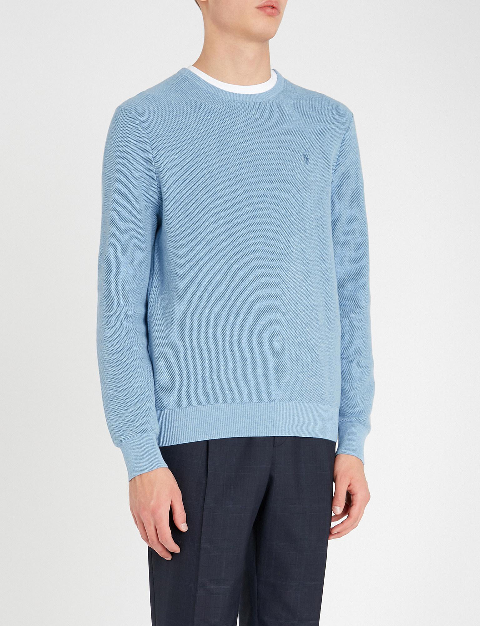 ed955fe63ed4 Lyst - Polo Ralph Lauren Logo-embroidered Cotton-jersey Sweatshirt ...