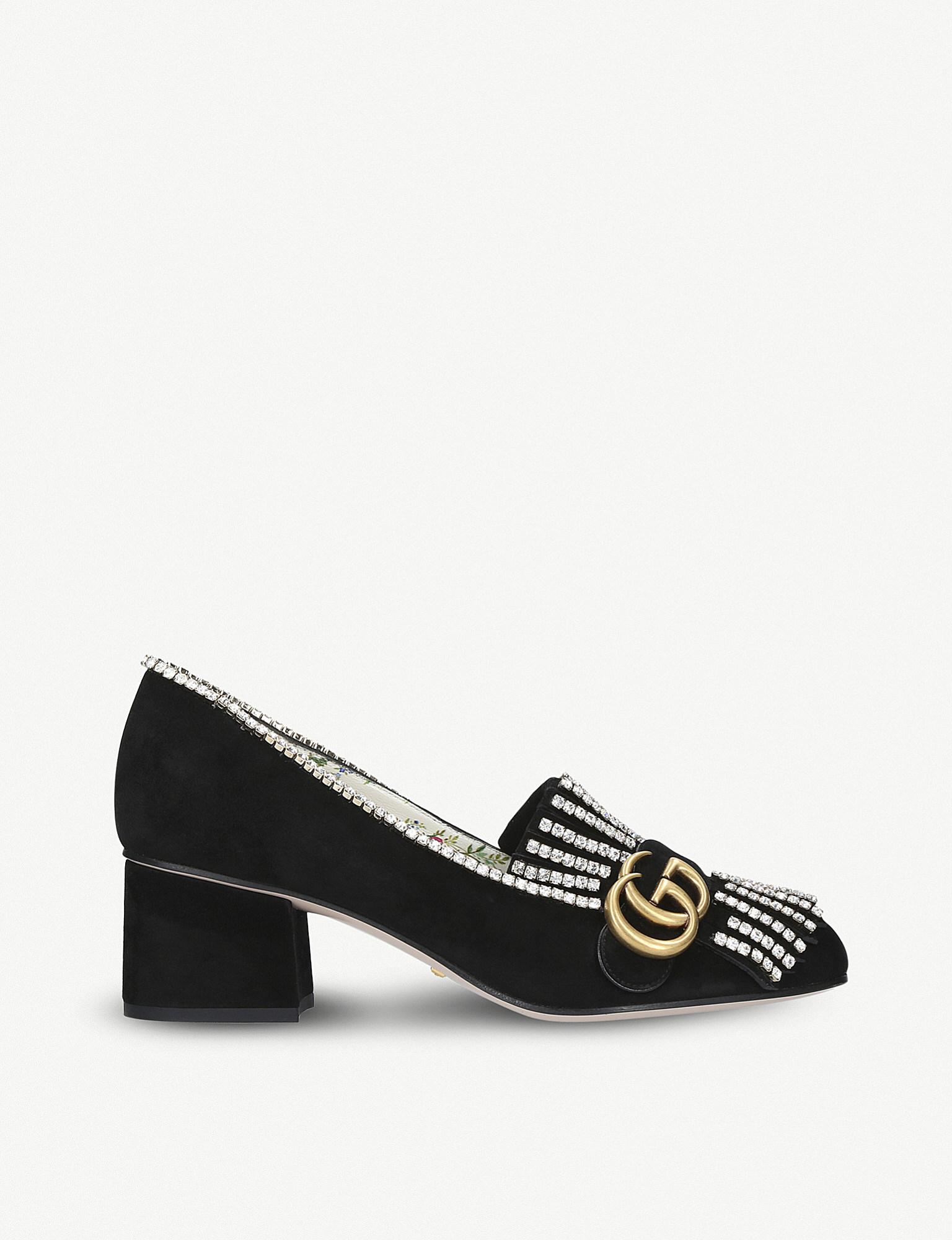b9a7da42cde Gucci Marmont 55 Crystal-embellished Suede Loafers in Black - Lyst