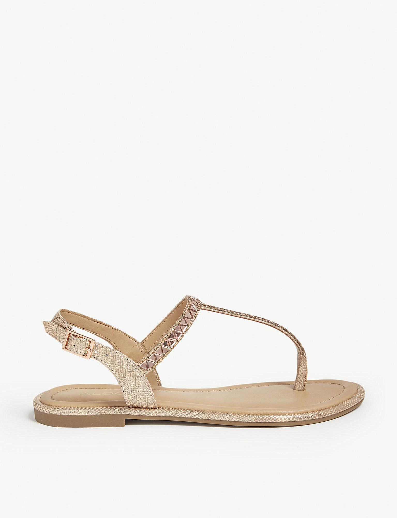 cd077419fb4a Lyst - Aldo Sheeny Embellished Flat Sandals in Metallic