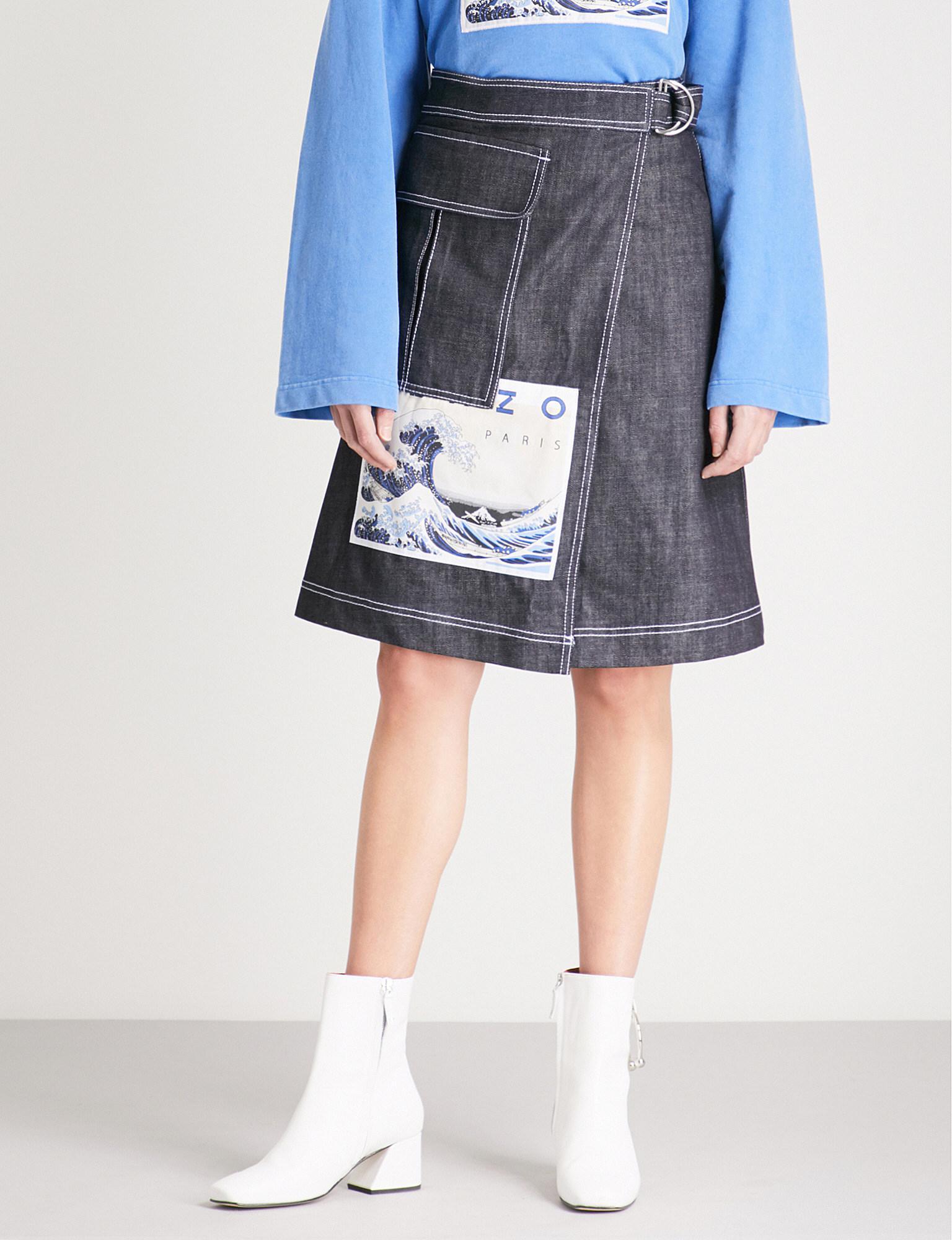 1813e121af KENZO Hokusai Appliqué Wrap-over Denim Skirt in Blue - Lyst