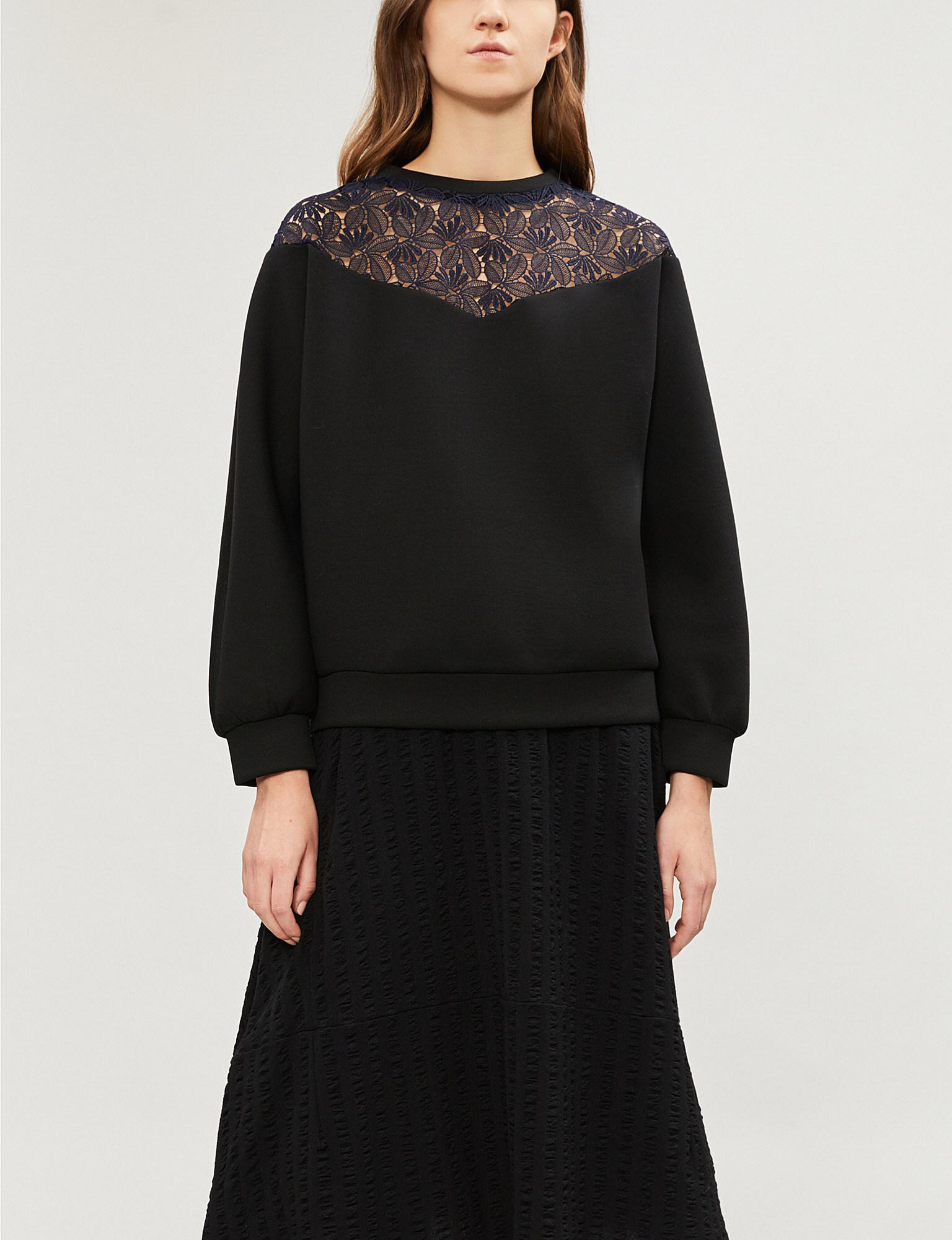 7c6bb97426 Lyst - Maje Tepina Lace-panel Jersey Sweatshirt in Black