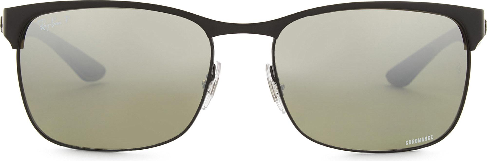 89b28d1e37 Ray-Ban Rb8319 Rectangle-frame Sunglasses in Black - Lyst