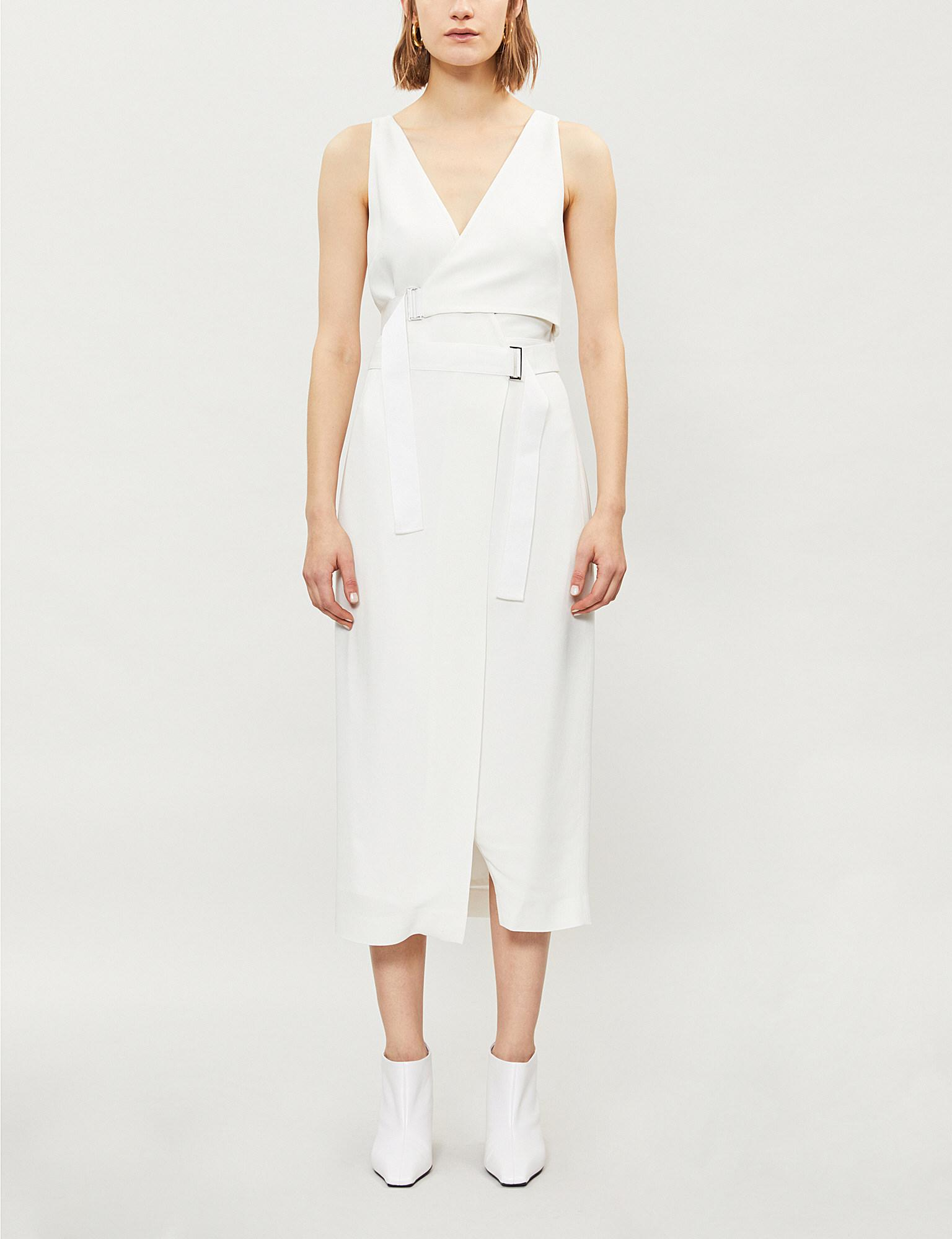 28c3f93623 Lyst - Dion Lee Holster Crepe Midi Dress in White
