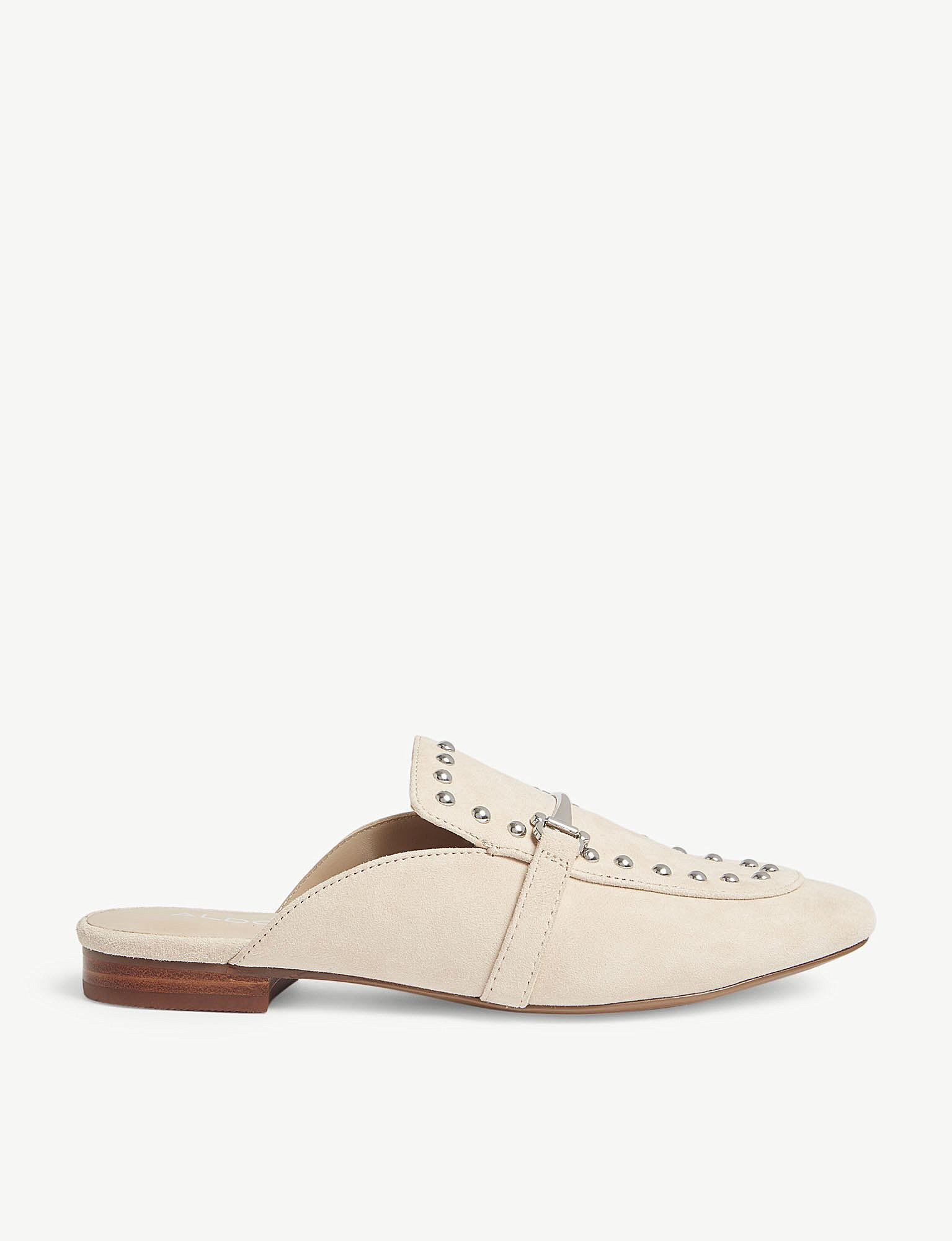 827fd3eeab6 Lyst - ALDO Vergemoli Studded Suede Loafers in Natural
